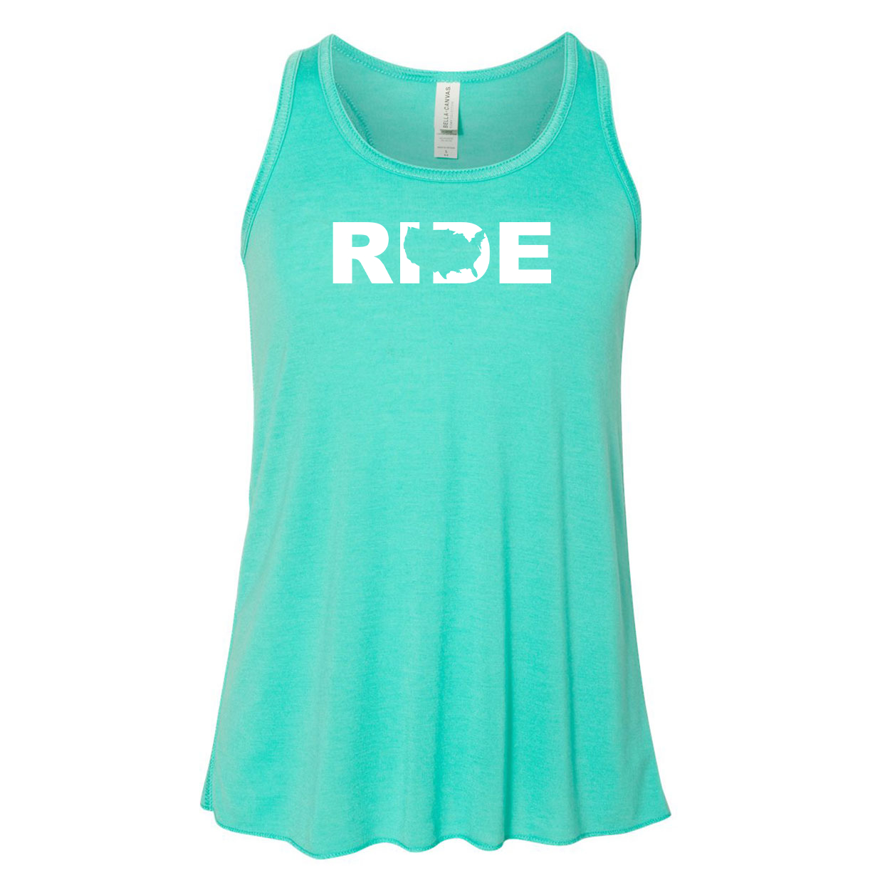 Ride United States Classic Youth Girls Flowy Racerback Tank Top Teal (White Logo)