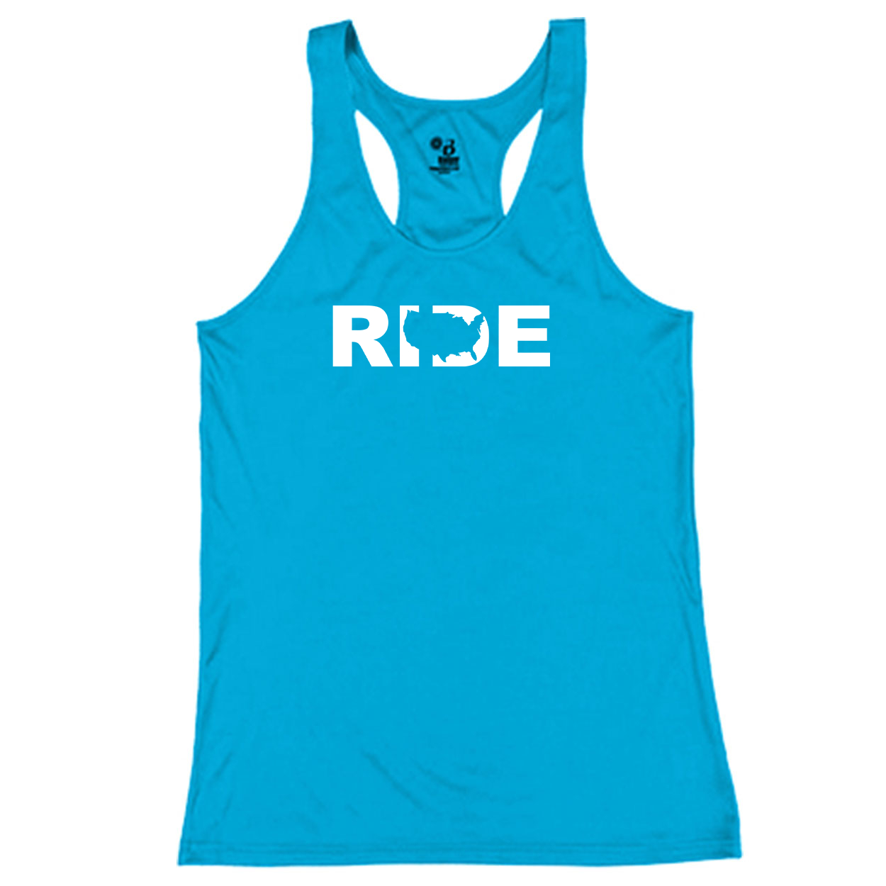 Ride United States Classic Youth Girls Performance Racerback Tank Top Electric Blue (White Logo)