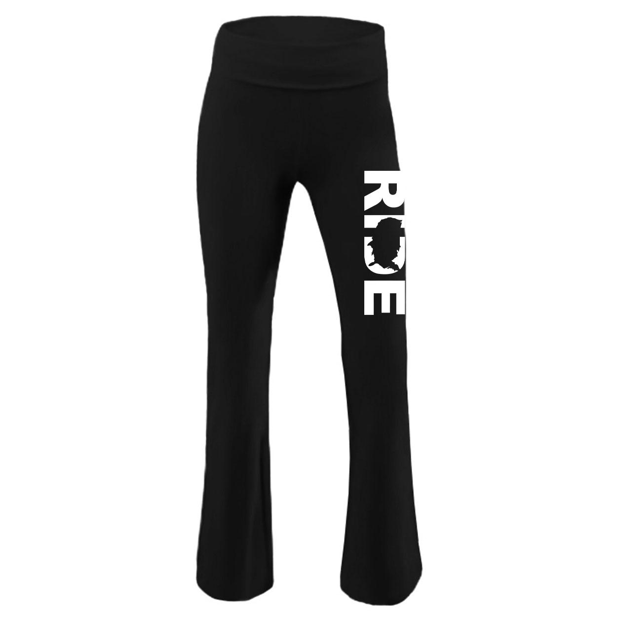 Ride United States Classic Youth Girls Yoga Pants Black (White Logo)
