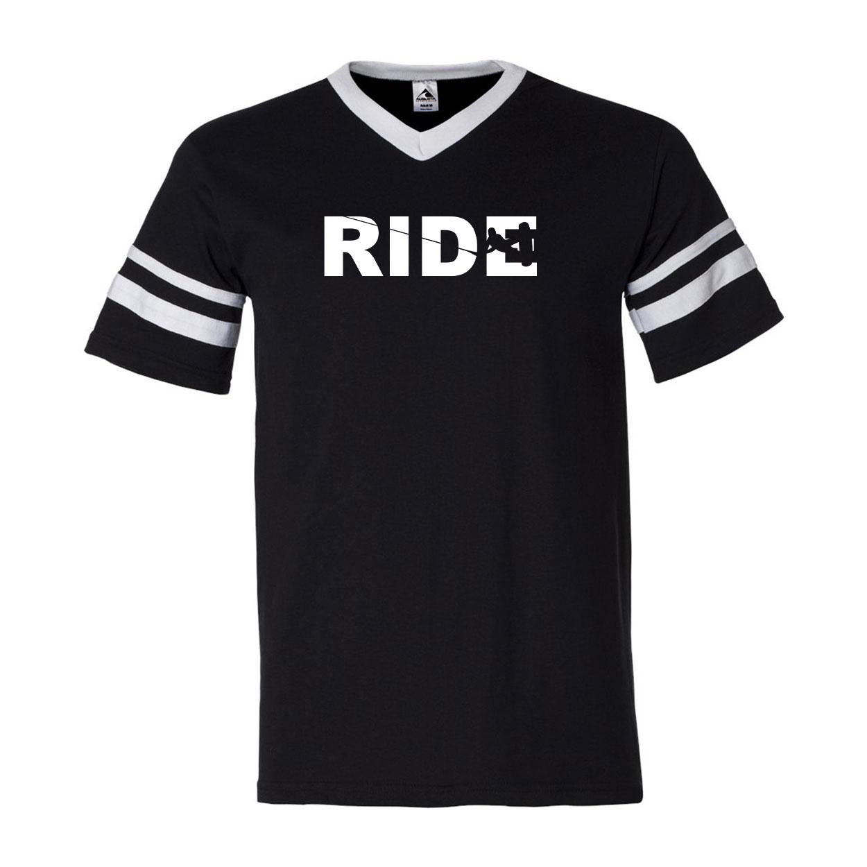 Ride Wakeboard Logo Classic Premium Striped Jersey T-Shirt Black/White (White Logo)