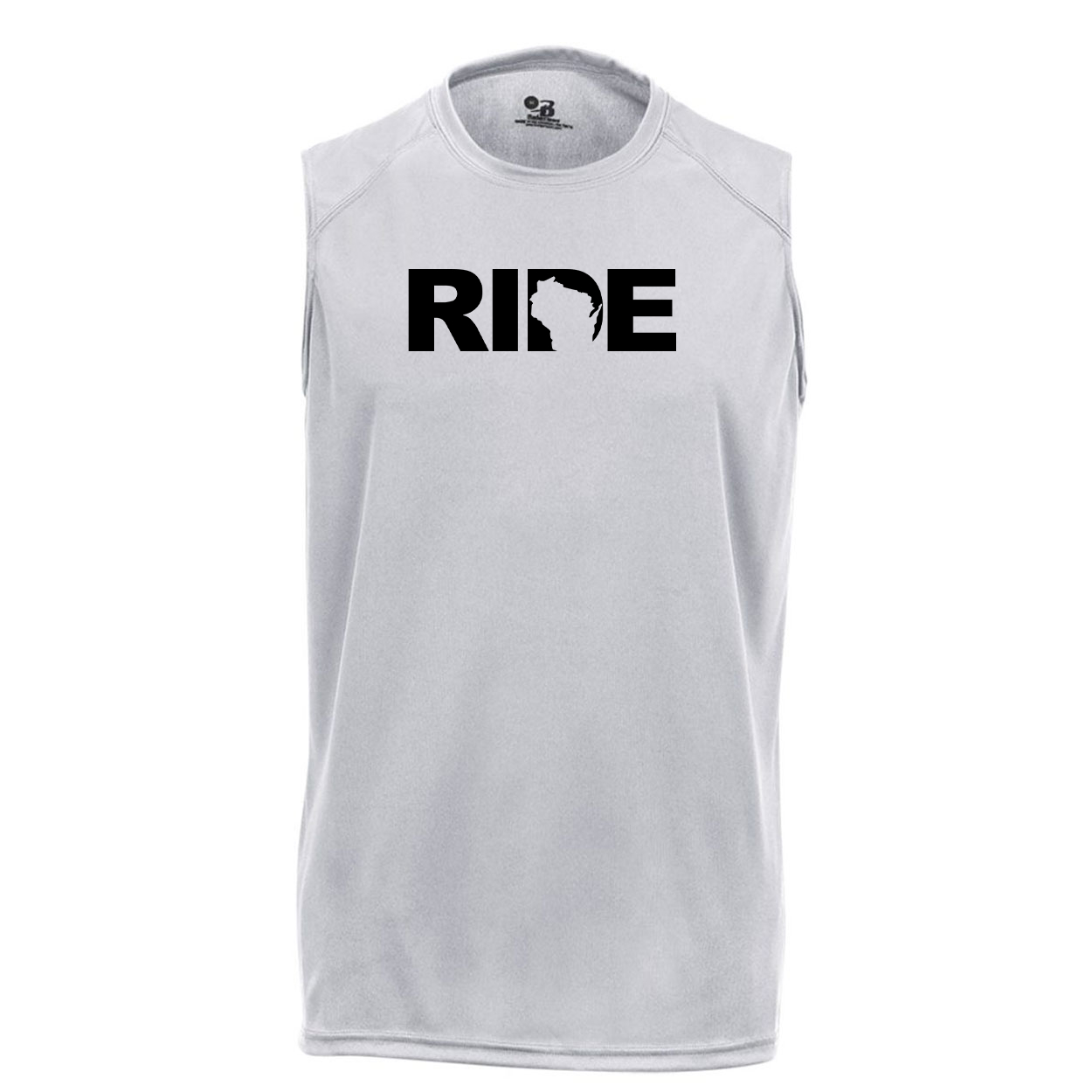 Ride Wisconsin Classic Unisex Performance Sleeveless T-Shirt Silver Gray (Black Logo)