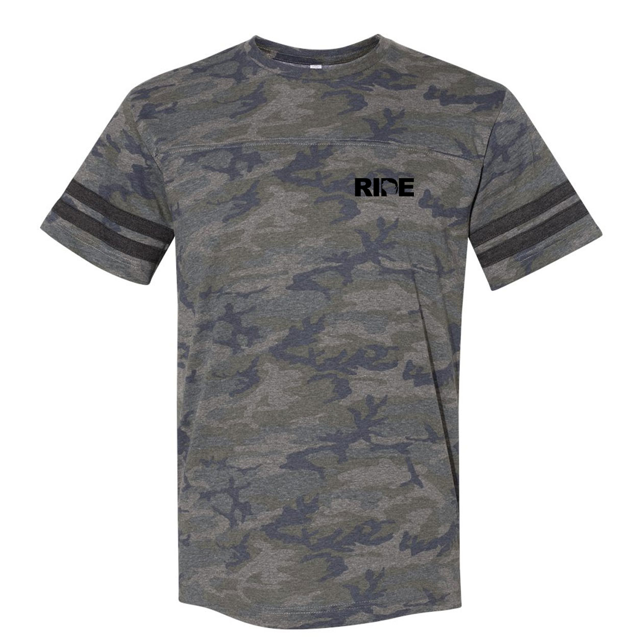 Ride Wisconsin Night Out Unisex Premium LAT Jersey T-Shirt Vintage Camo/Vintage Stripes (Black Logo)