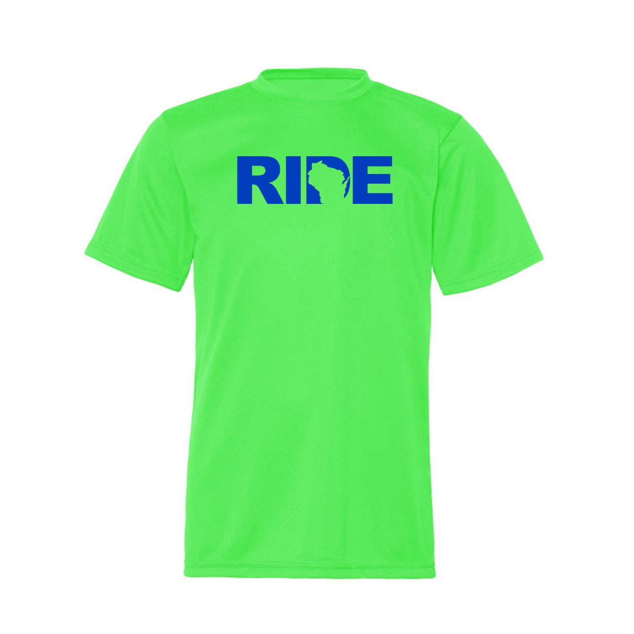 Ride Wisconsin Classic Youth Unisex Performance T-Shirt Lime Green (Blue Logo)