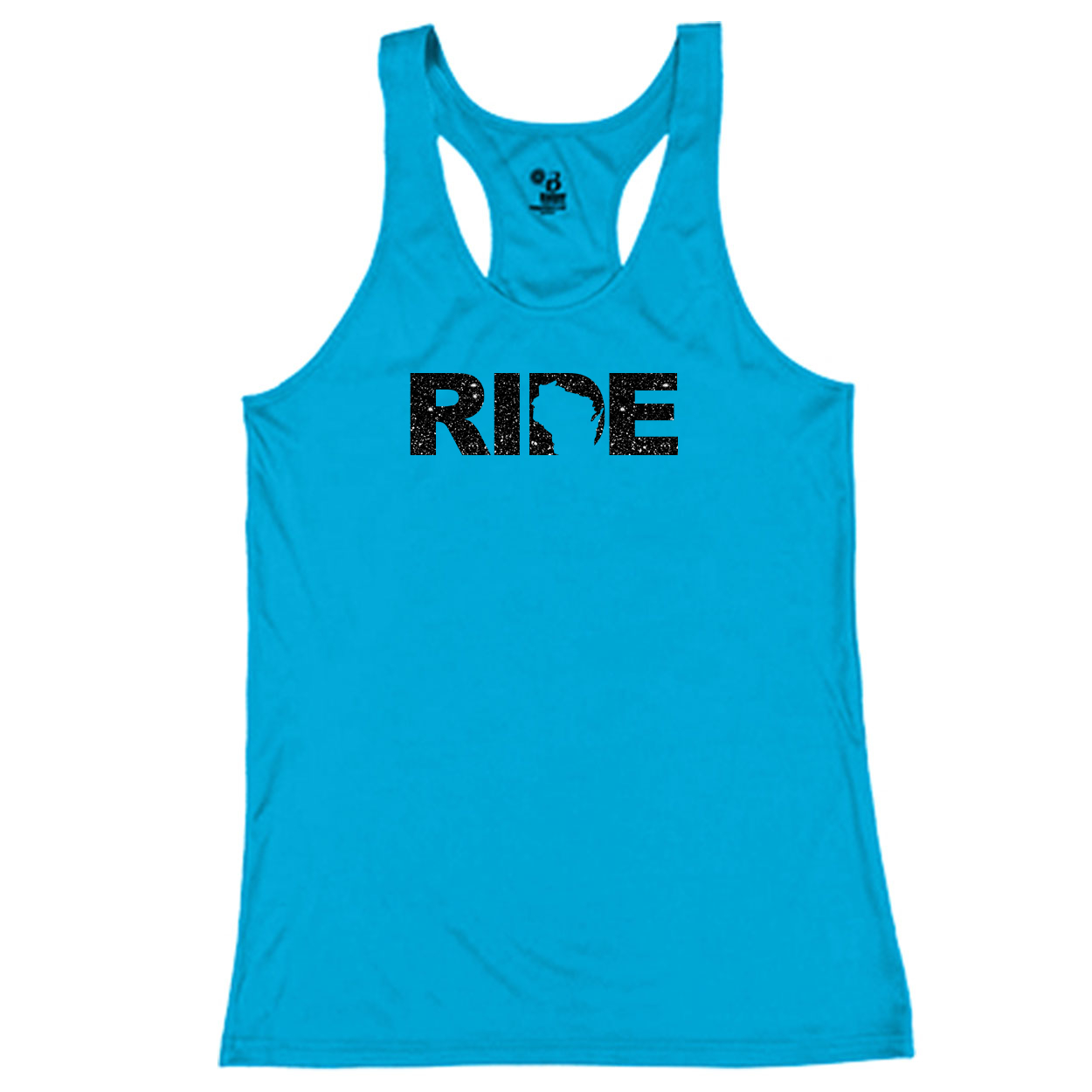 Ride Wisconsin Classic Youth Girls Performance Racerback Tank Top Electric Blue (Glitter Black Logo)