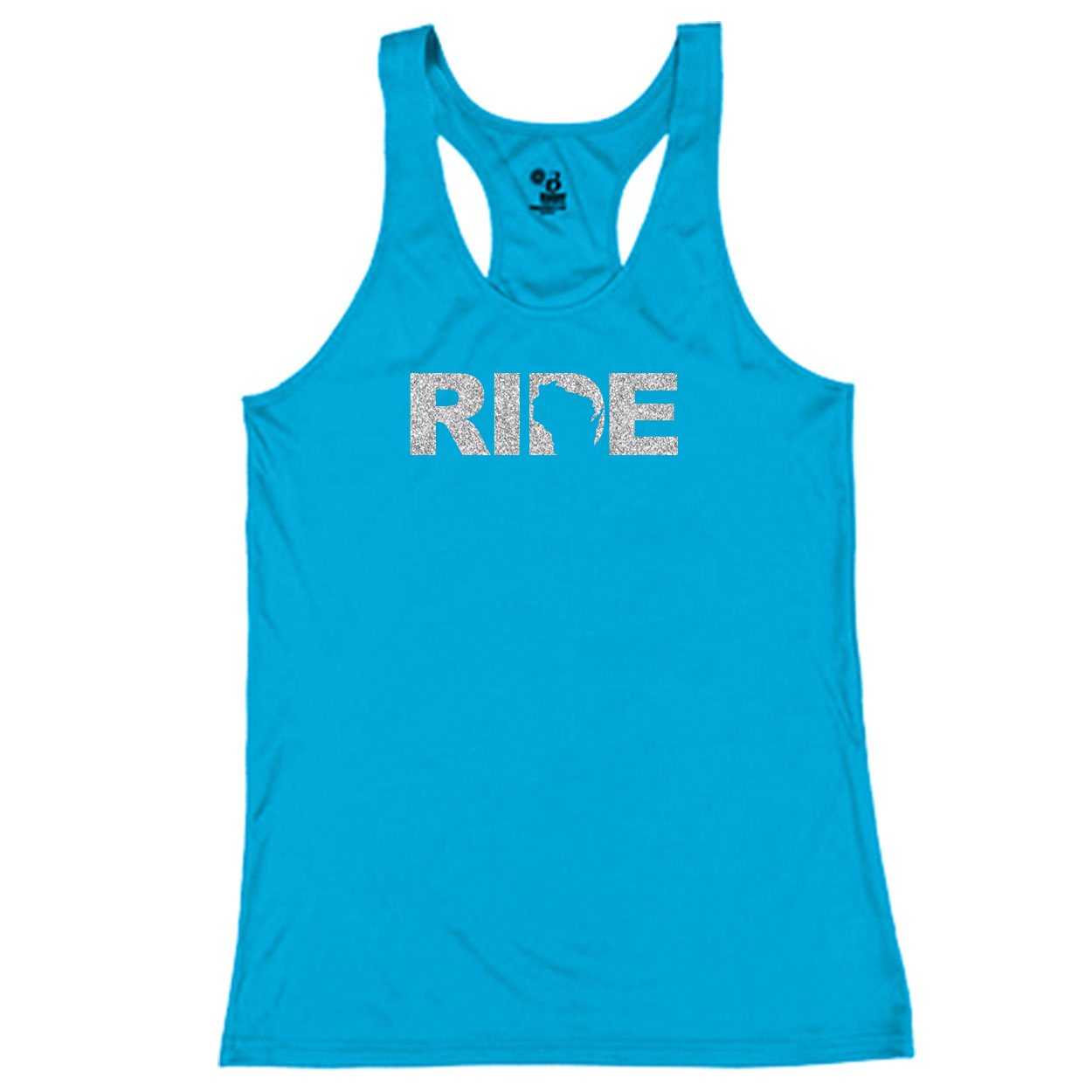Ride Wisconsin Classic Youth Girls Performance Racerback Tank Top Electric Blue (Glitter Silver Logo)