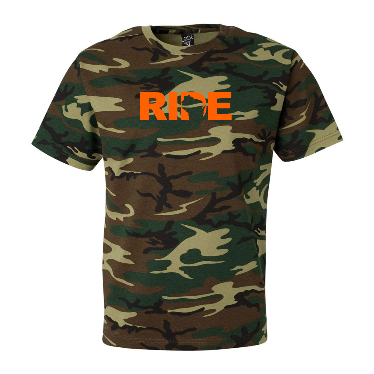 Ride Wisconsin Classic Premium T-Shirt Camo (Orange Logo)