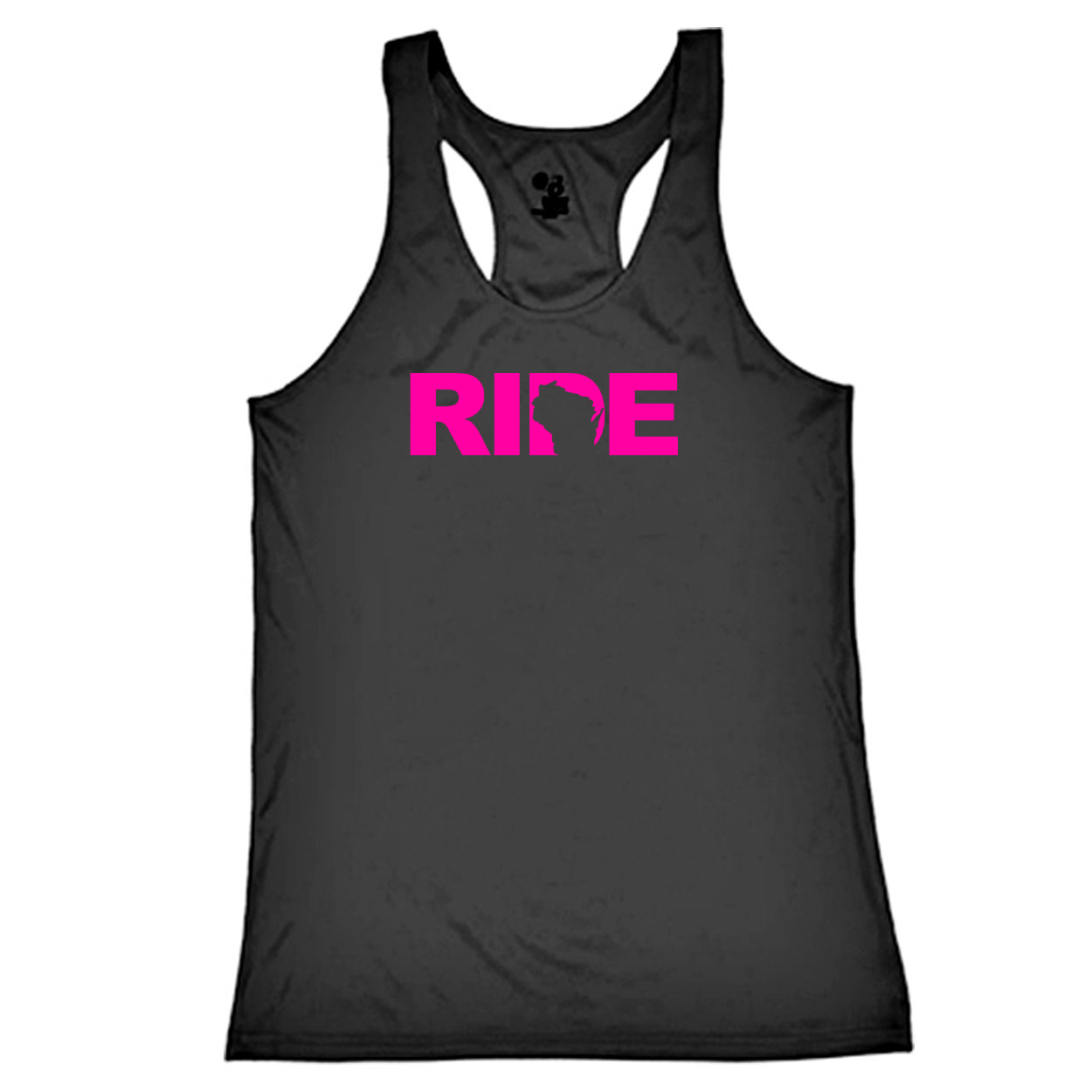 Ride Wisconsin Classic Youth Girls Performance Racerback Tank Top Black (Pink Logo)