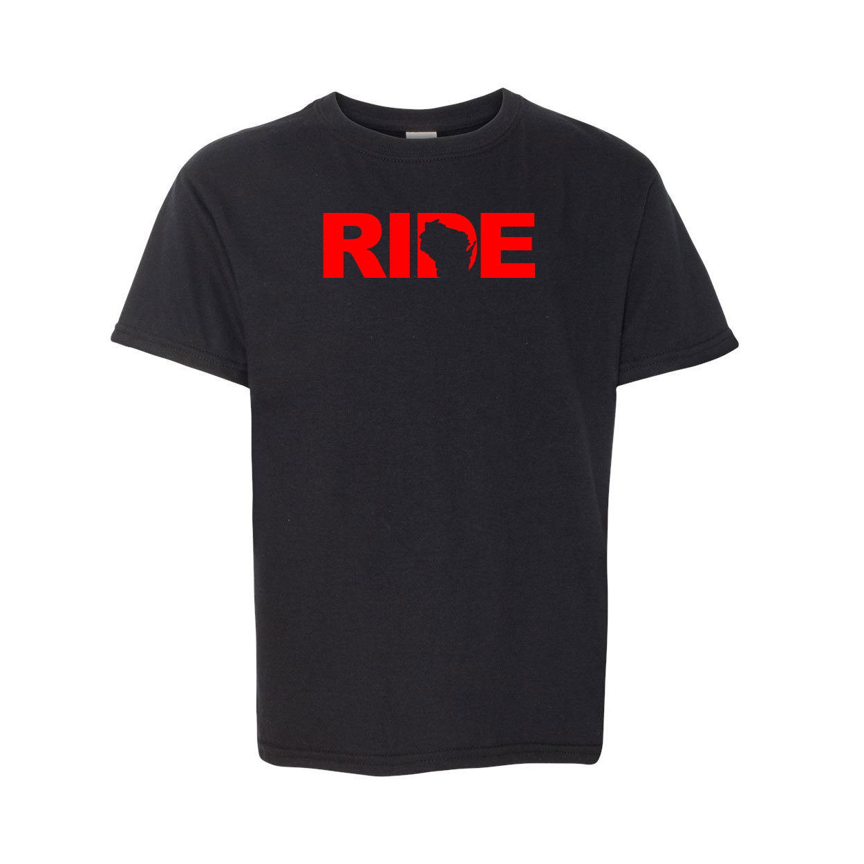Ride Wisconsin Classic Youth Unisex T-Shirt Black (Red Logo)