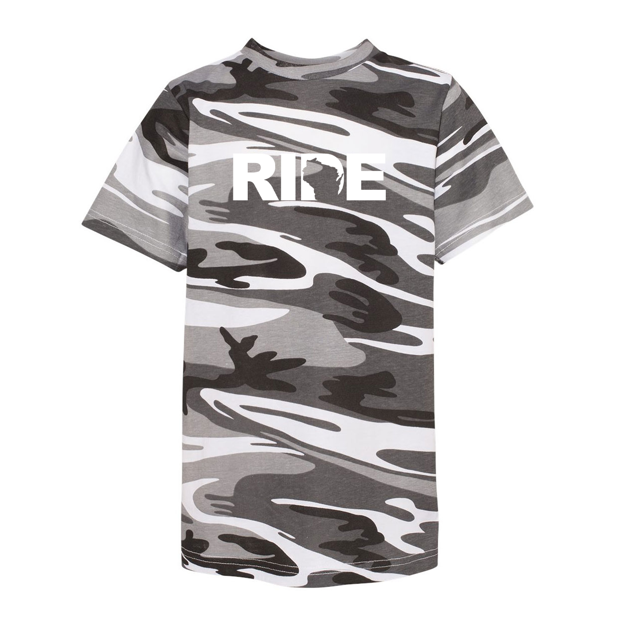 Ride Wisconsin Classic Youth Unisex T-Shirt Urban Camo (White Logo)