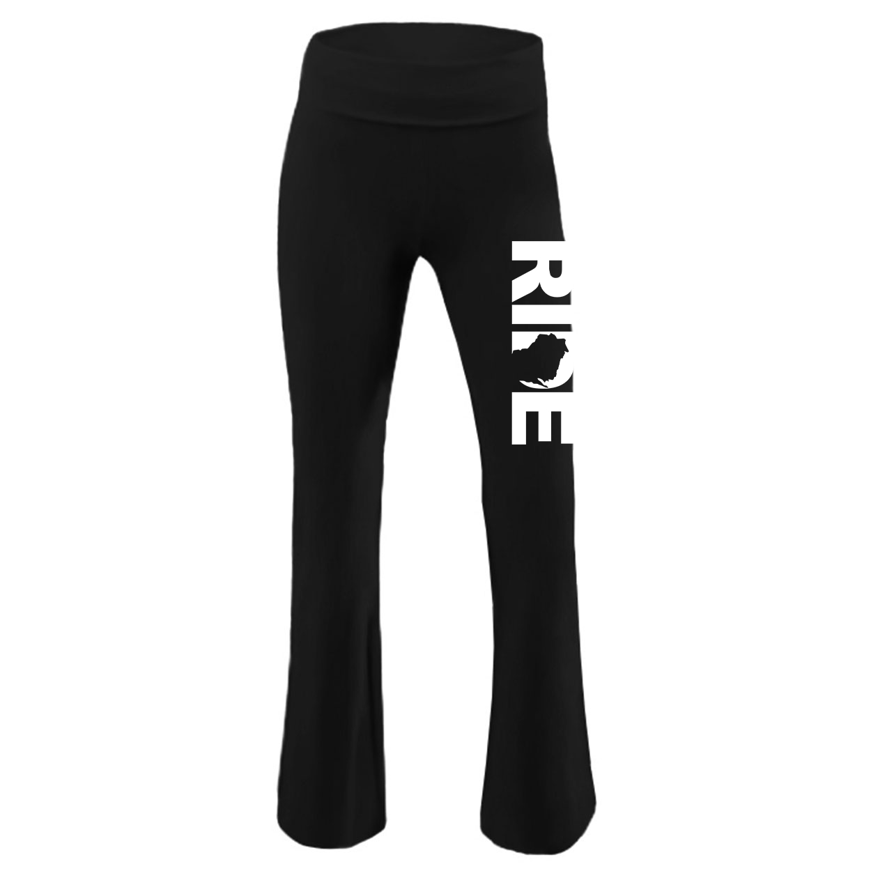 Ride Wisconsin Classic Youth Girls Yoga Pants Black (White Logo)