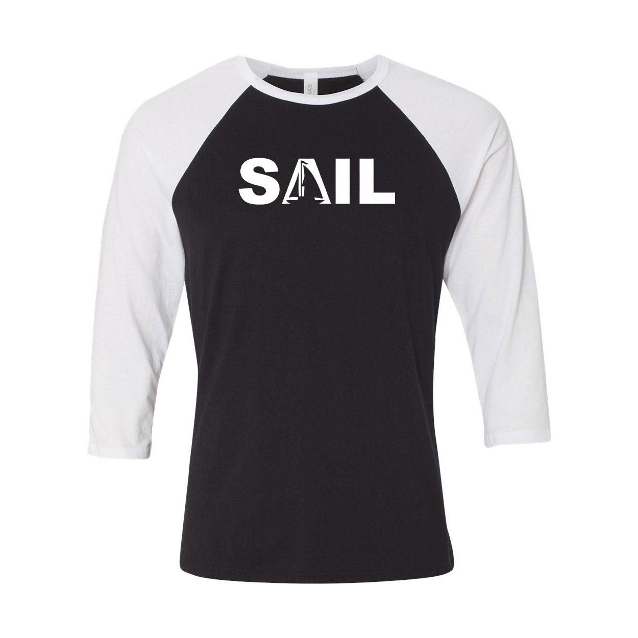 Sail Boat Logo Classic Raglan Shirt Black/White (White Logo)