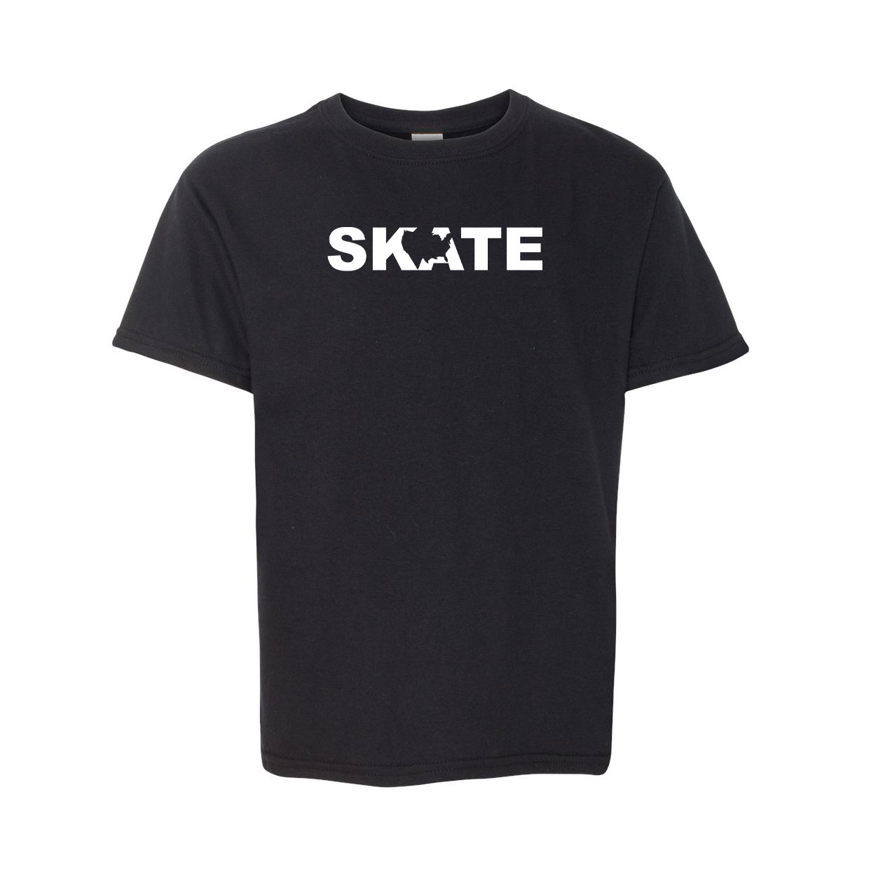 Skate United States Classic Youth T-Shirt Black (White Logo)