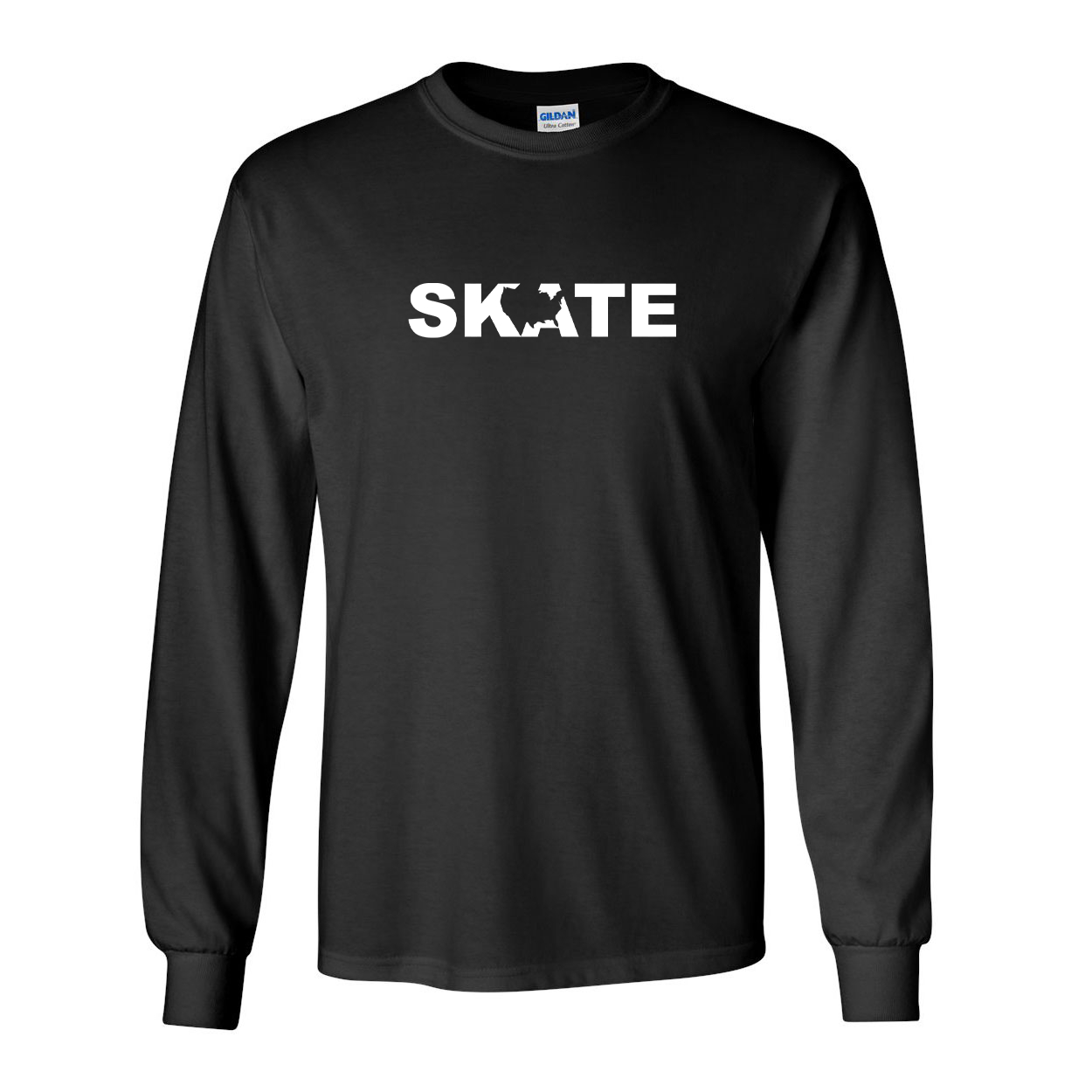Skate United States Classic Long Sleeve T-Shirt Black (White Logo)