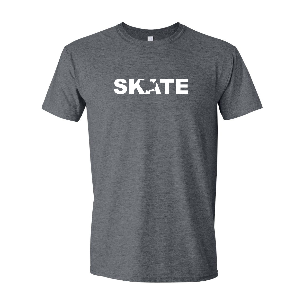 Skate United States Classic T-Shirt Dark Heather Gray (White Logo)