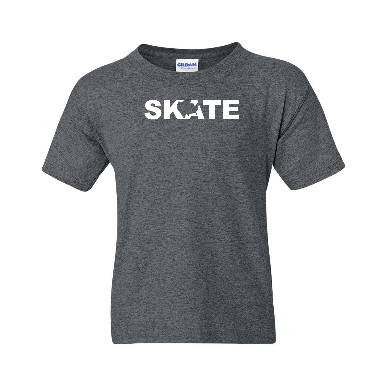 Skate United States Classic Youth T-Shirt Dark Heather Gray (White Logo)
