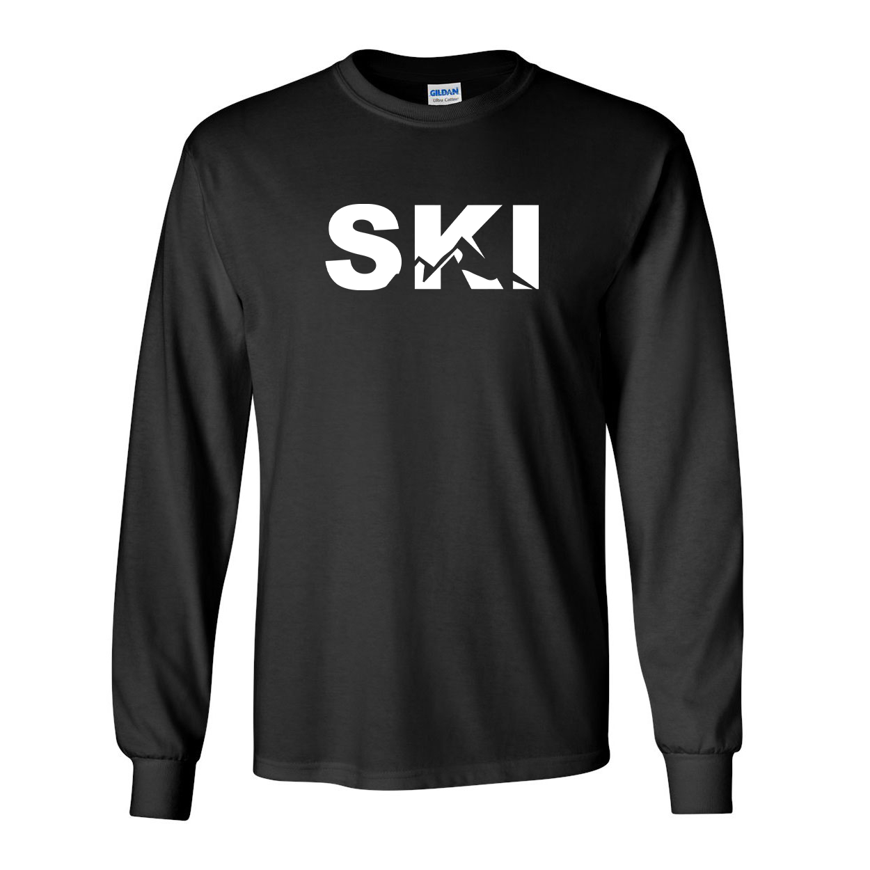 Ski Mountain Logo Classic Long Sleeve T-Shirt Black (White Logo)