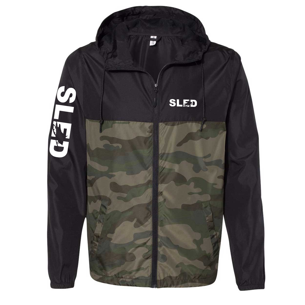 Sled Snowmobile Logo Classic Lightweight Windbreaker Black/Forest Camo (White Logo)