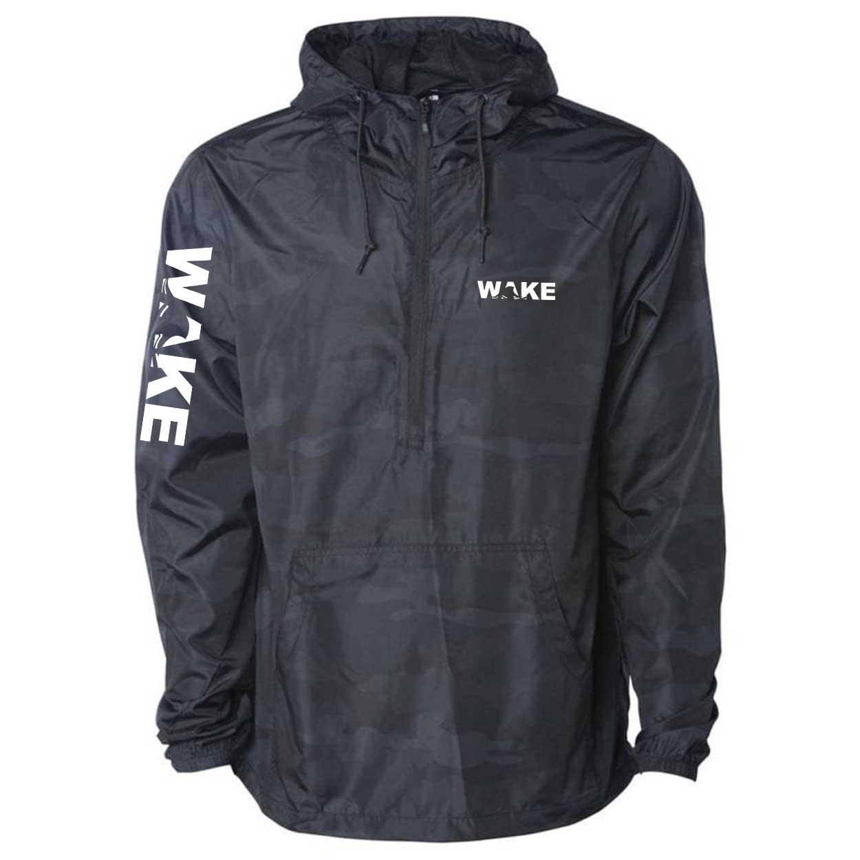 Wake Wave Logo Classic Lightweight Pullover Windbreaker Black Camo (White Logo)