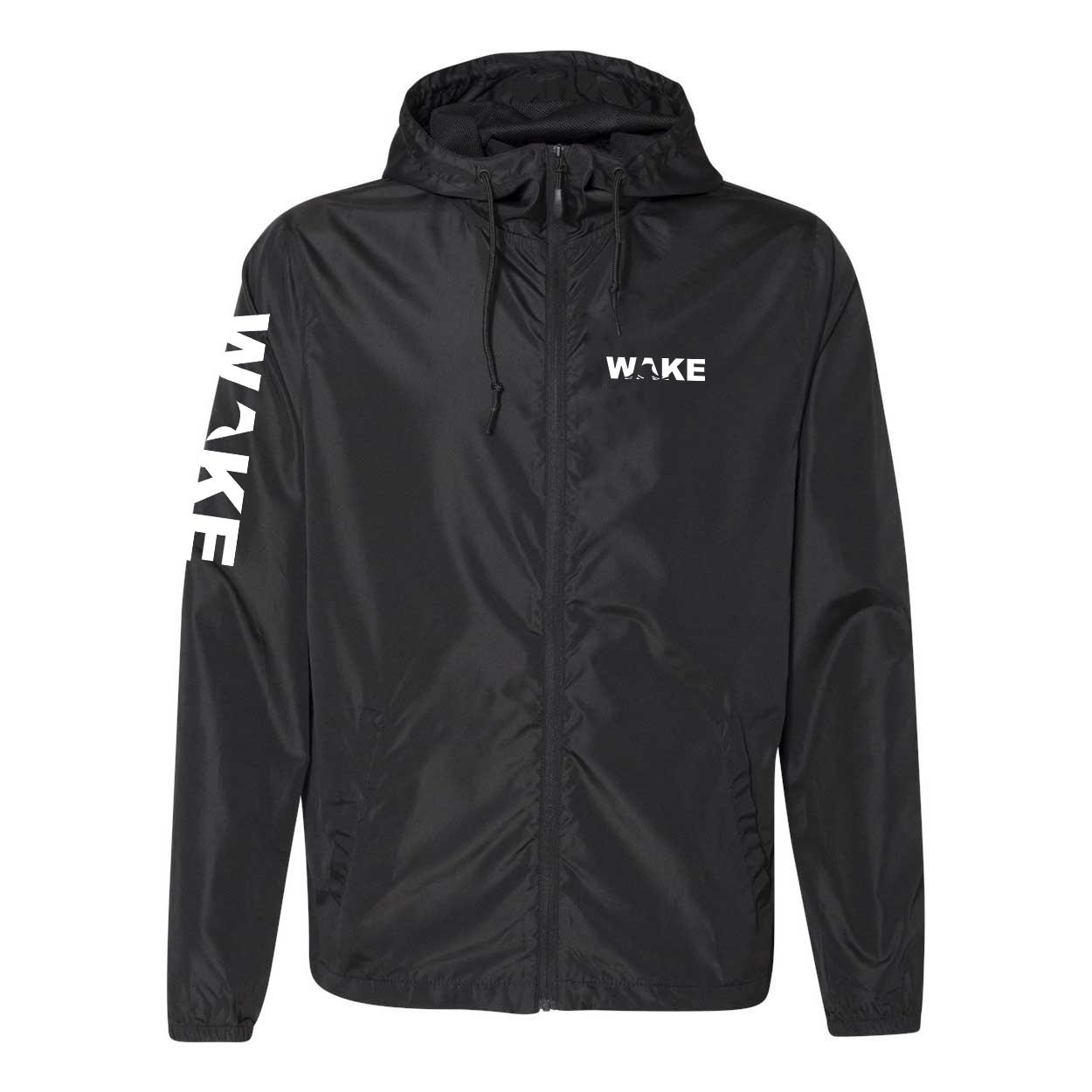 Wake Wave Logo Classic Lightweight Windbreaker Black (White Logo)