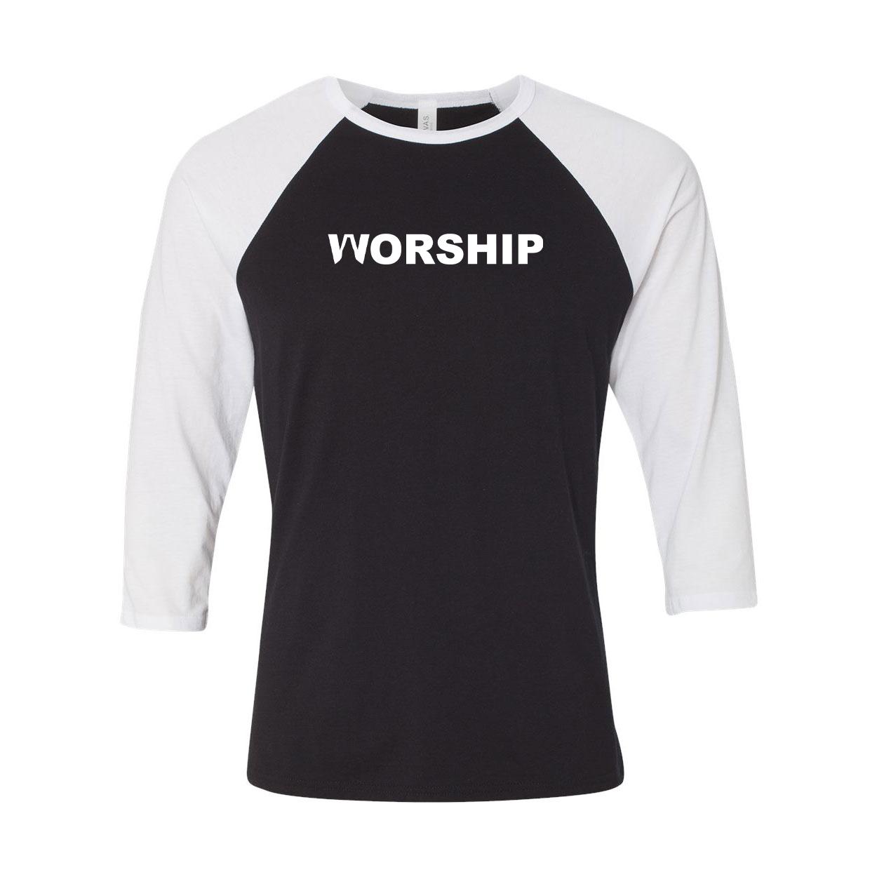 Worship Pray Logo Classic Raglan Shirt Black/White (White Logo)