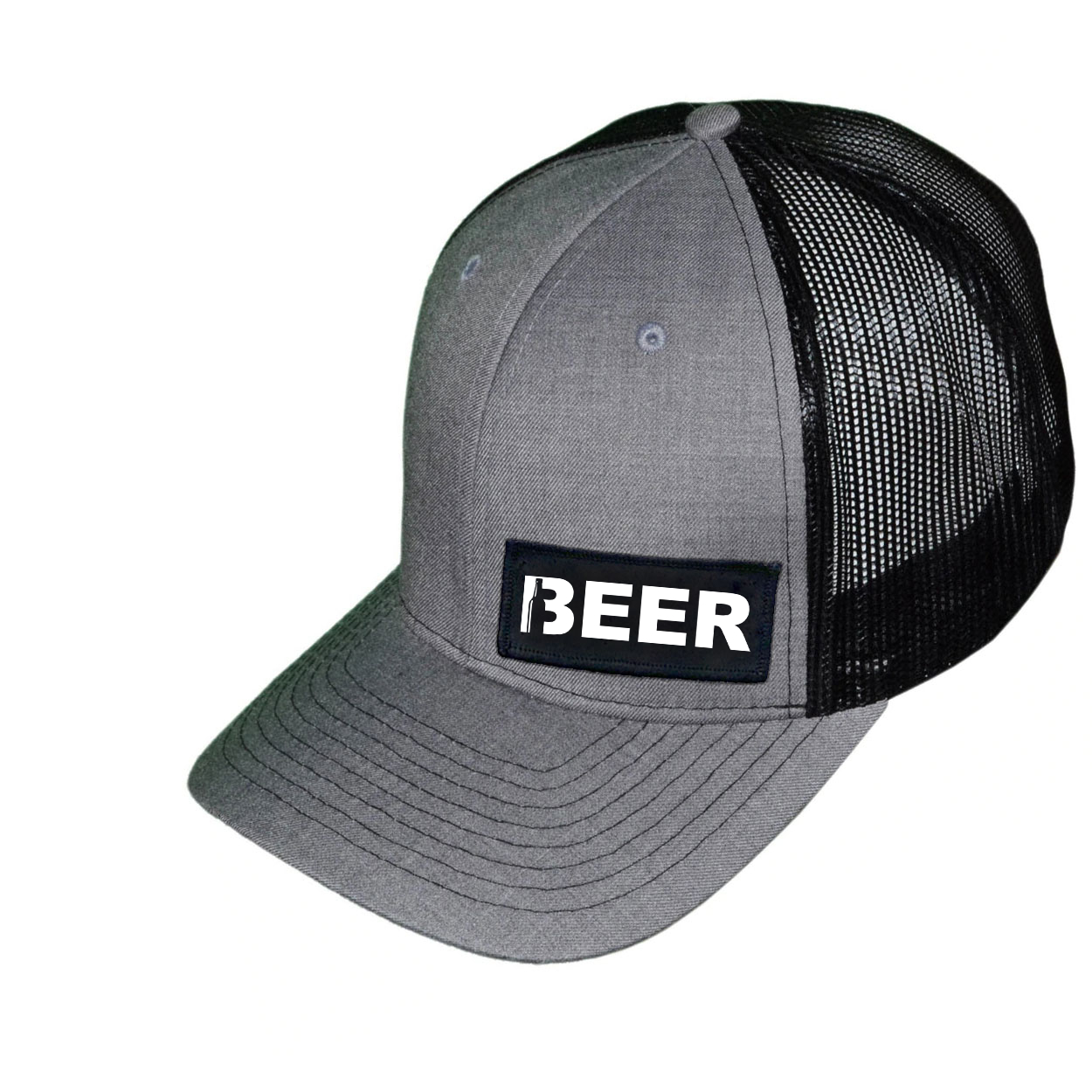 Beer Bottle Logo Night Out Woven Patch Snapback Trucker Hat Heather Gray/Black (White Logo)
