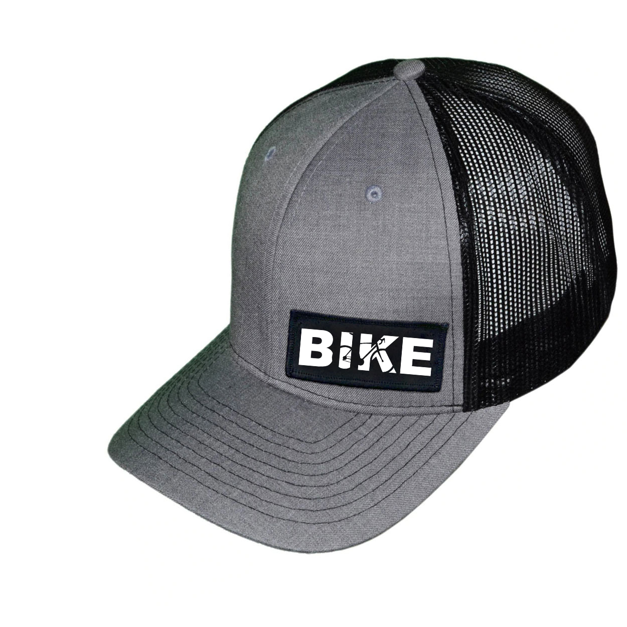 Bike Cycling Logo Night Out Woven Patch Snapback Trucker Hat Heather Gray/Black (White Logo)