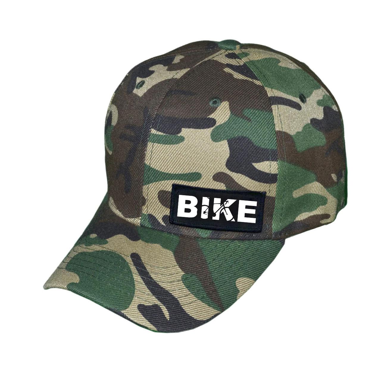 Bike Cycling Logo Night Out Woven Patch Hat Camo (White Logo)