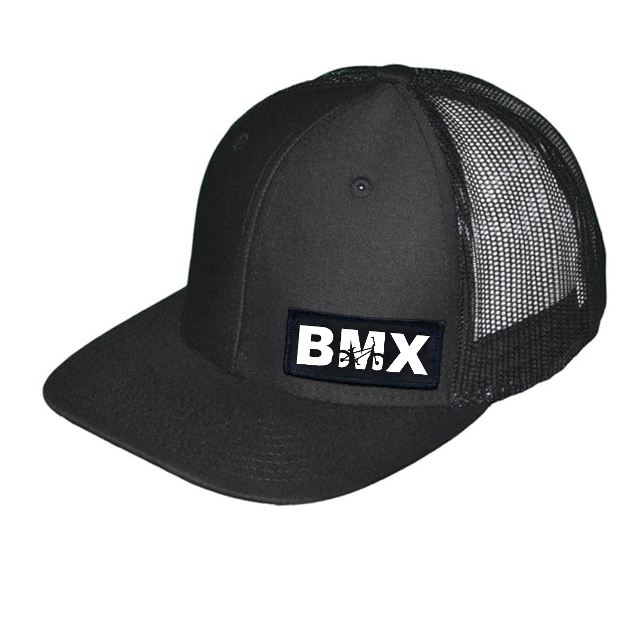 BMX Bike Logo Night Out Woven Patch Snapback Trucker Hat Black (White Logo)