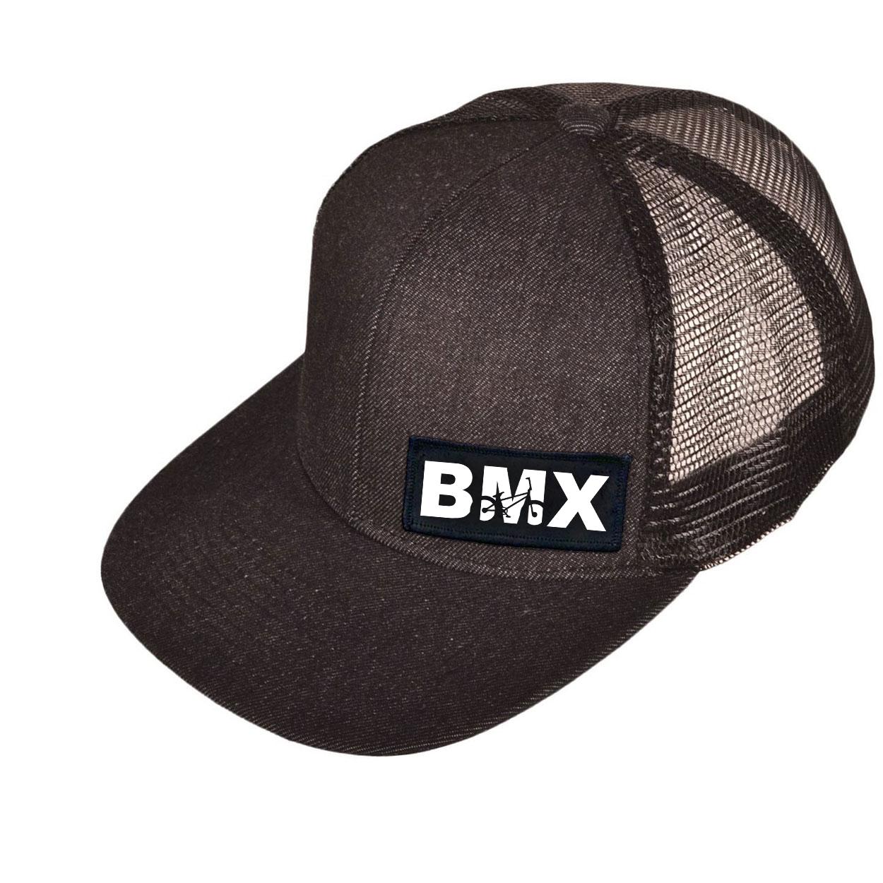 BMX Bike Logo Night Out Woven Patch Snapback Flat Brim Hat Black Denim (White Logo)