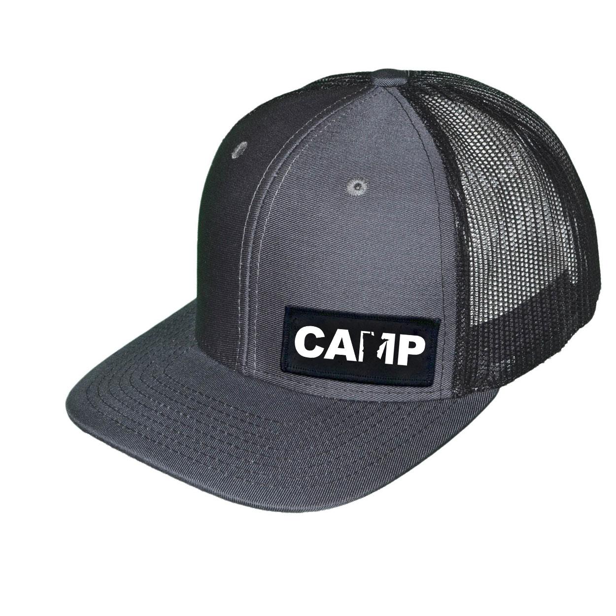 Camp Minnesota Night Out Woven Patch Snapback Trucker Hat Dark Gray/Black (White Logo)