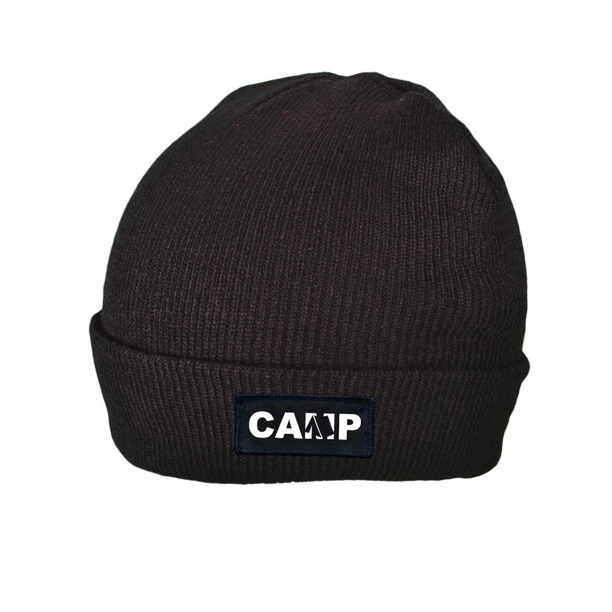 Camp Tent Logo Night Out Woven Patch Roll Up Skully Beanie Black (White Logo)