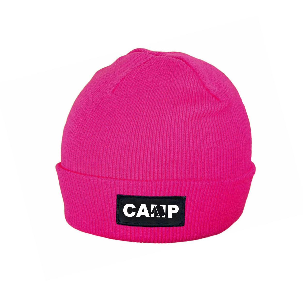 Camp Tent Logo Night Out Woven Patch Roll Up Skully Beanie Heather Fuchsia (White Logo)