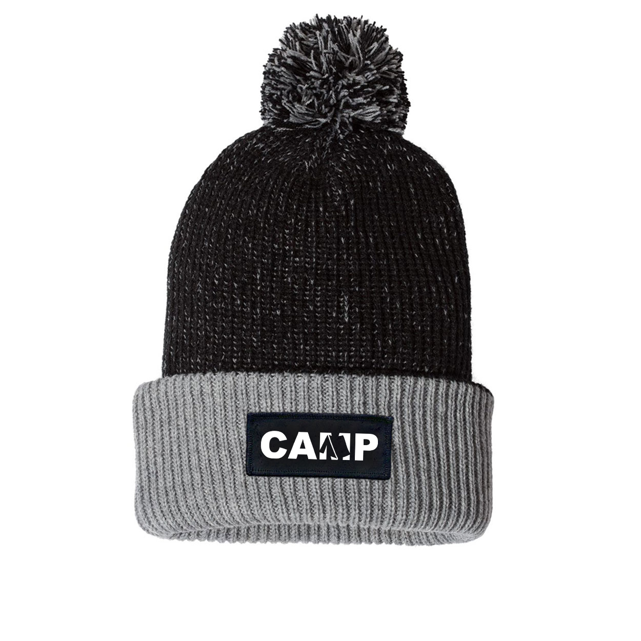 Camp Tent Logo Night Out Woven Patch Roll Up Pom Knit Beanie Black/Gray (White Logo)