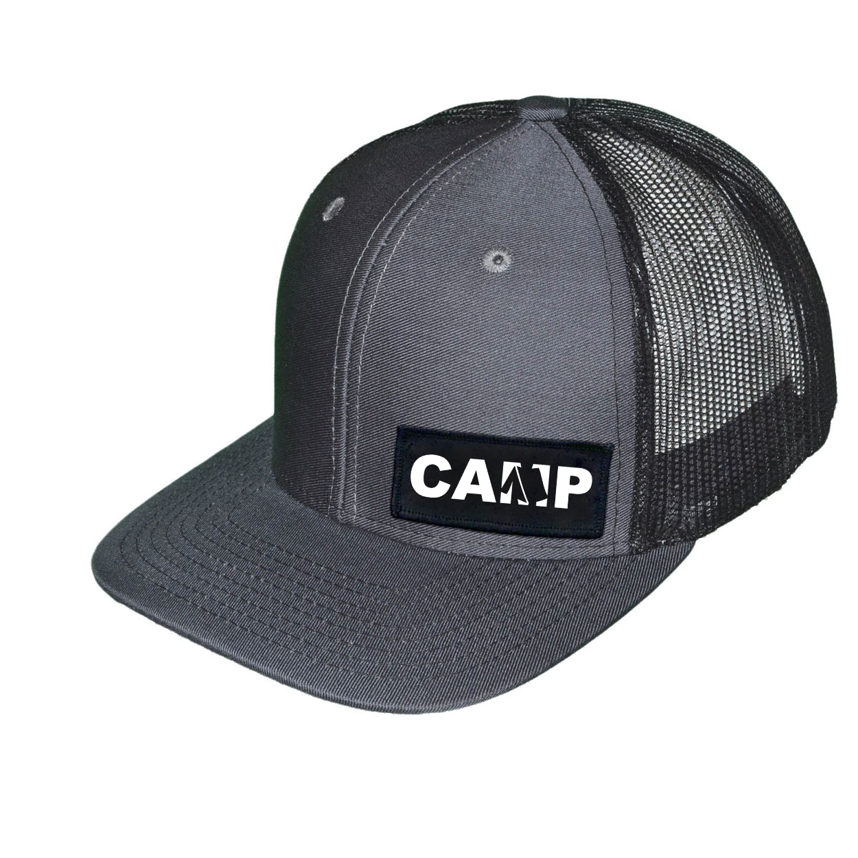 Camp Tent Logo Night Out Woven Patch Snapback Trucker Hat Dark Gray/Black (White Logo)