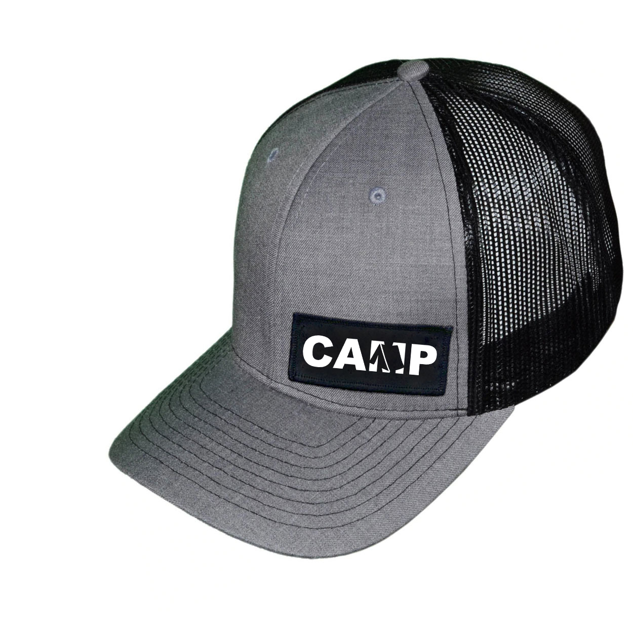 Camp Tent Logo Night Out Woven Patch Snapback Trucker Hat Heather Gray/Black (White Logo)