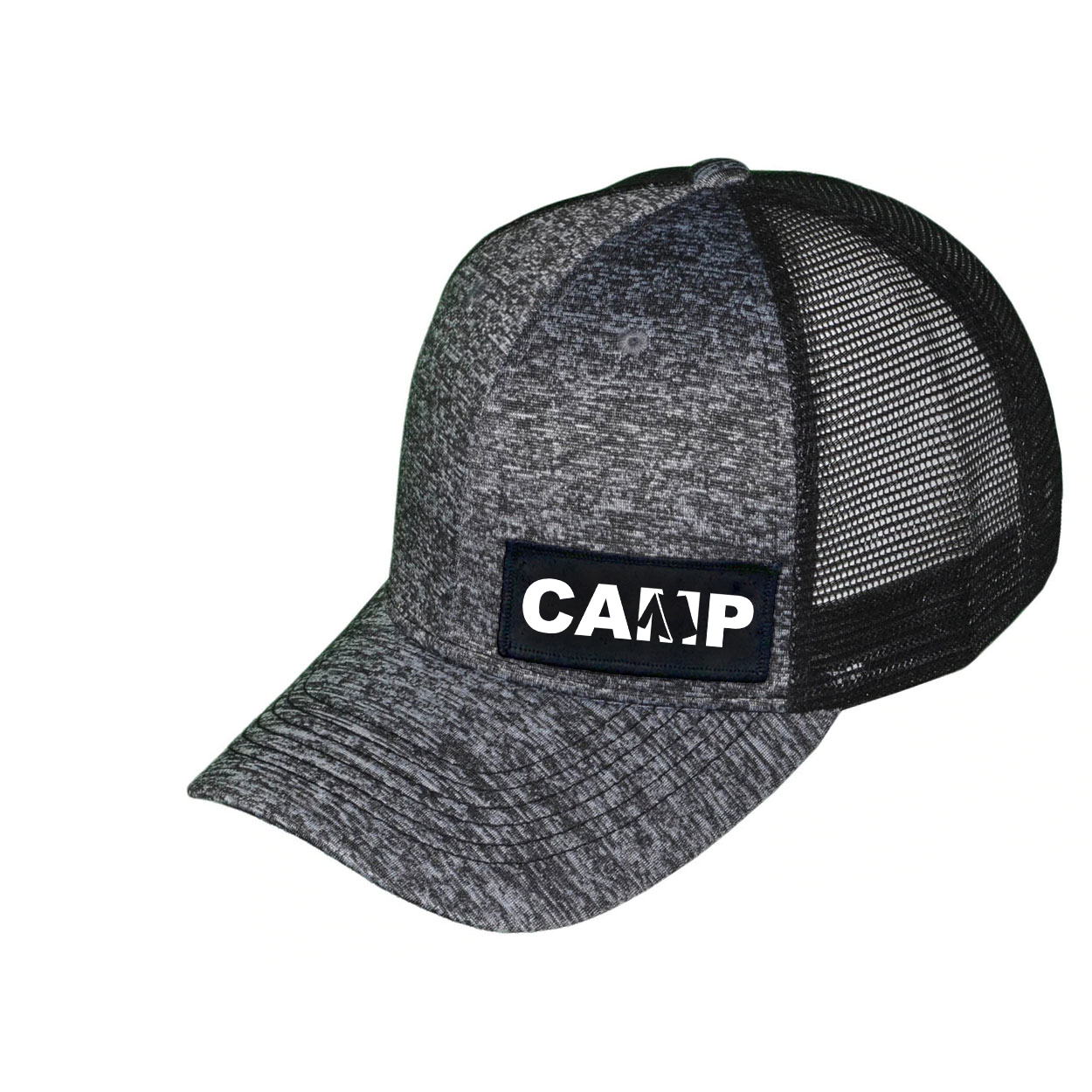 Camp Tent Logo Night Out Woven Patch Melange Snapback Trucker Hat Gray/Black (White Logo)