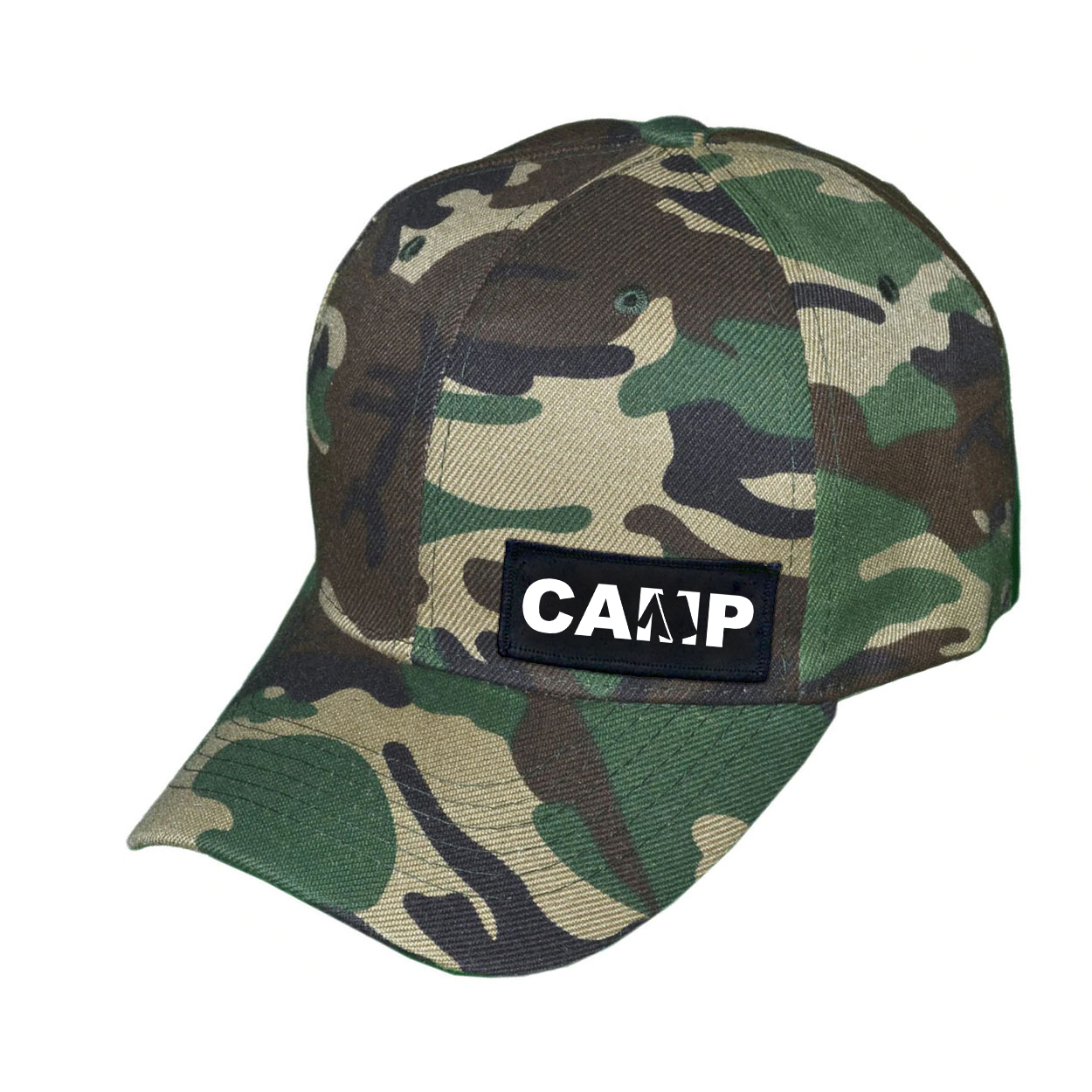 Camp Tent Logo Night Out Woven Patch Hat Camo (White Logo)