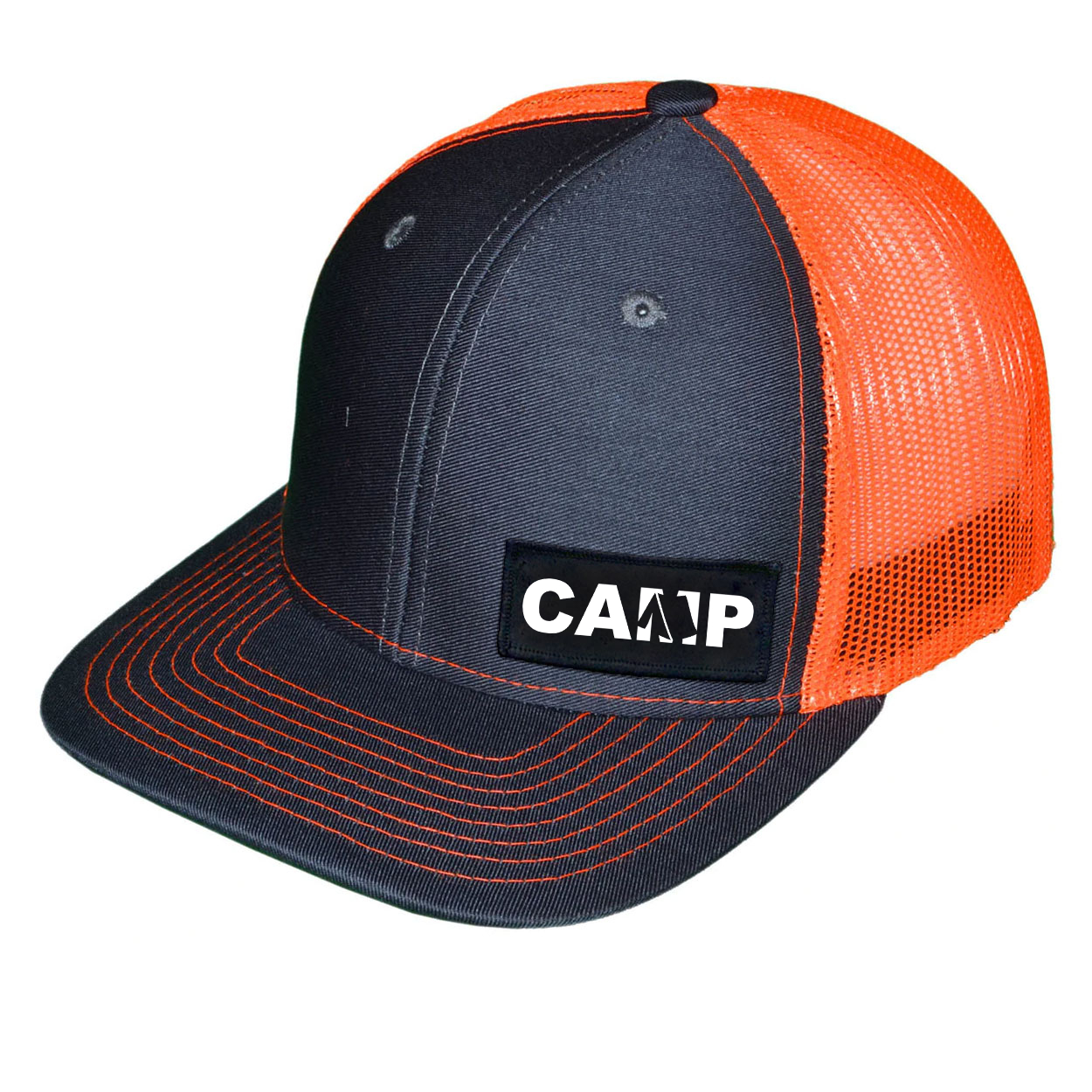 Camp Tent Logo Night Out Woven Patch Snapback Trucker Hat Dark Gray/Orange (White Logo)