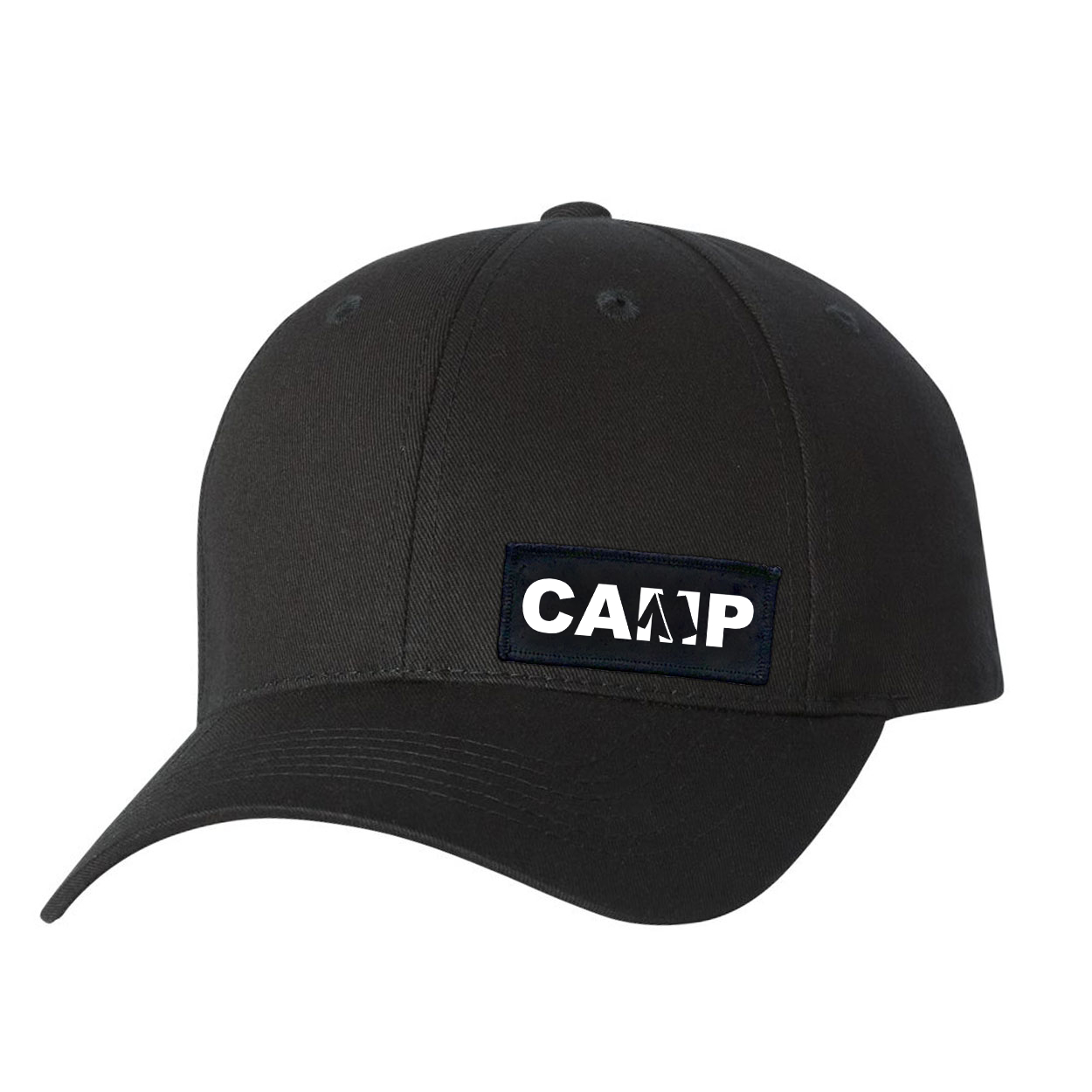 Camp Tent Logo Night Out Youth Woven Patch Hat Black (White Logo)