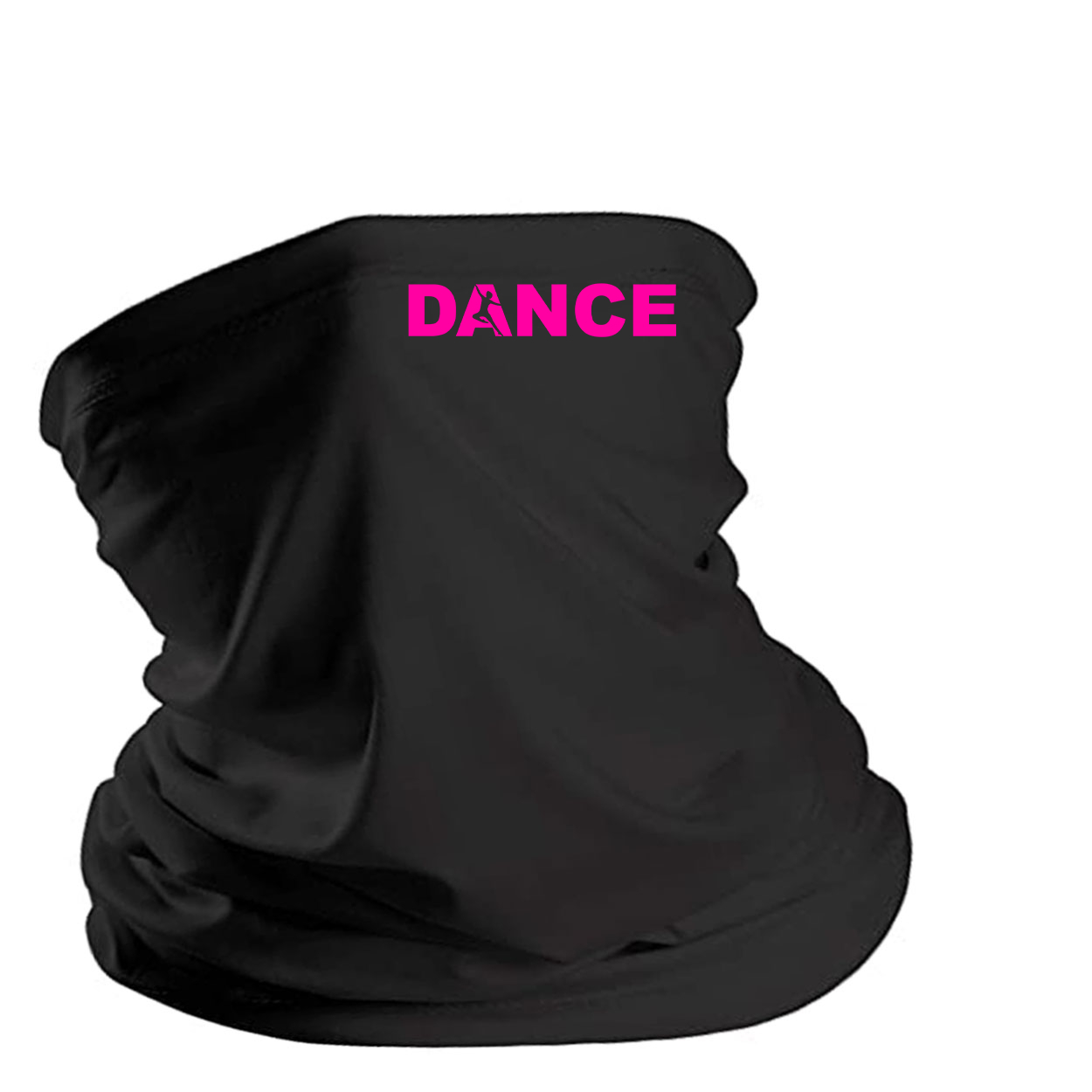 Dance Silhouette Logo Night Out Lightweight Neck Gaiter Face Mask Black (Pink Logo)