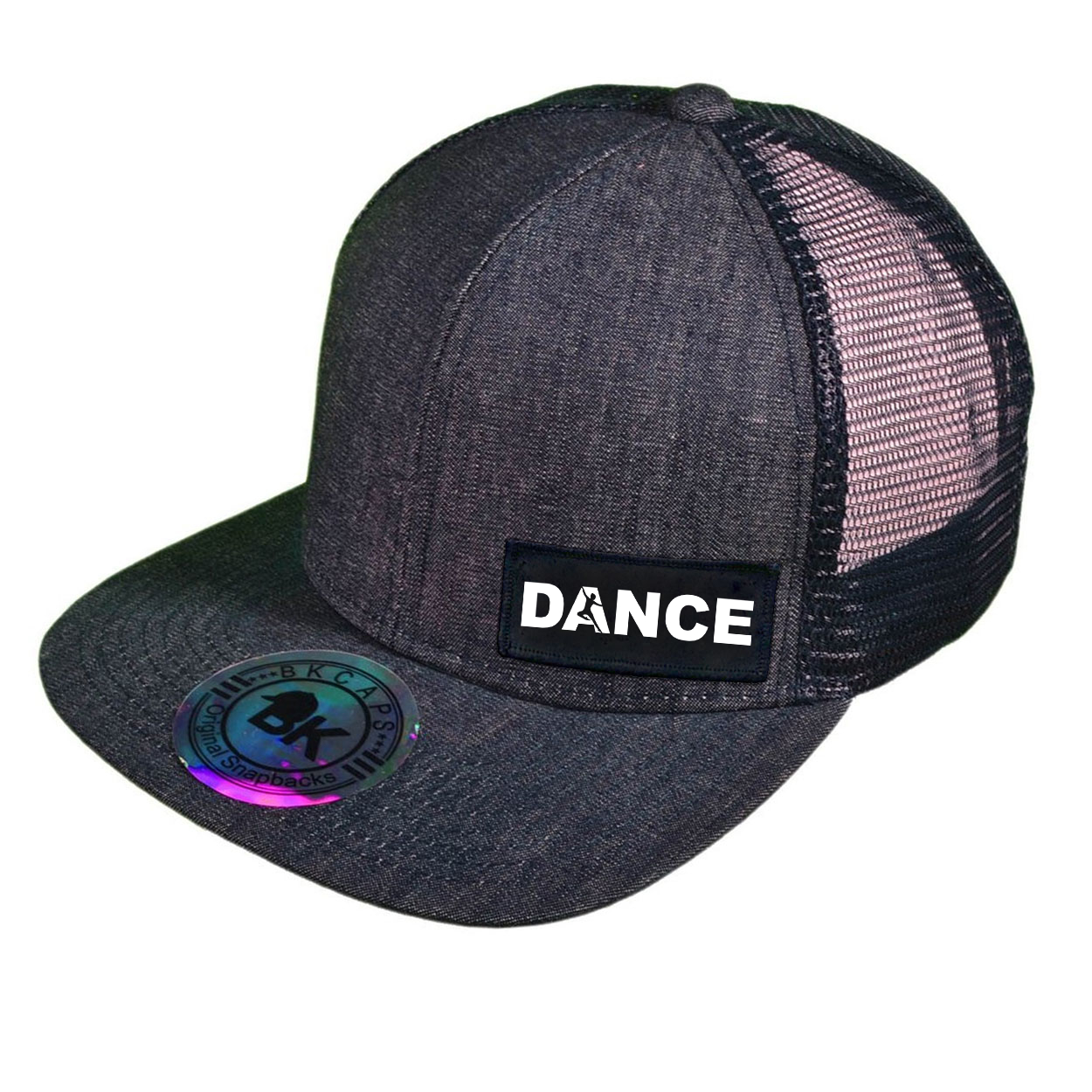 Dance Silhouette Logo Night Out Woven Patch Snapback Flat Brim Hat Dark Navy Denim (White Logo)
