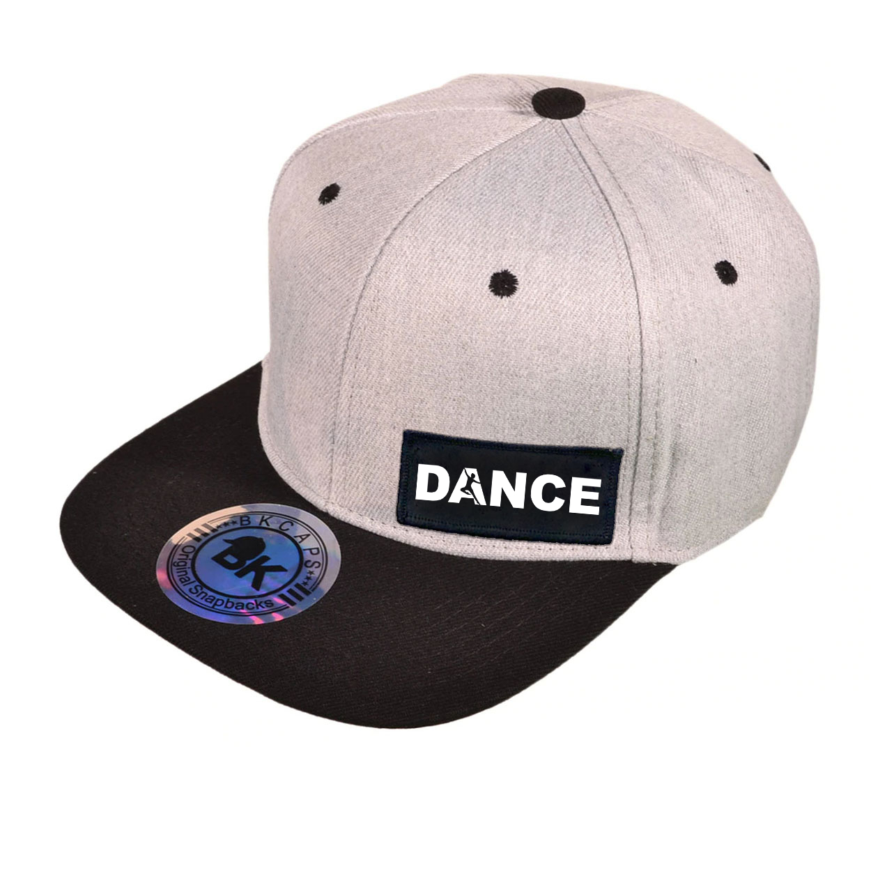 Dance Silhouette Logo Night Out Woven Patch Snapback Flat Brim Hat Heather Gray/Black (White Logo)