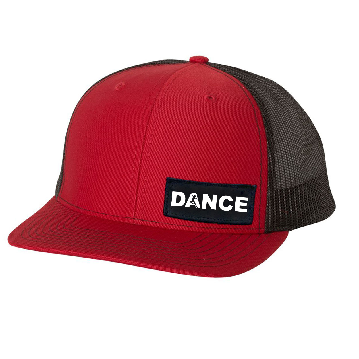 Dance Silhouette Logo Night Out Woven Patch Snapback Trucker Hat Red/Black (White Logo)