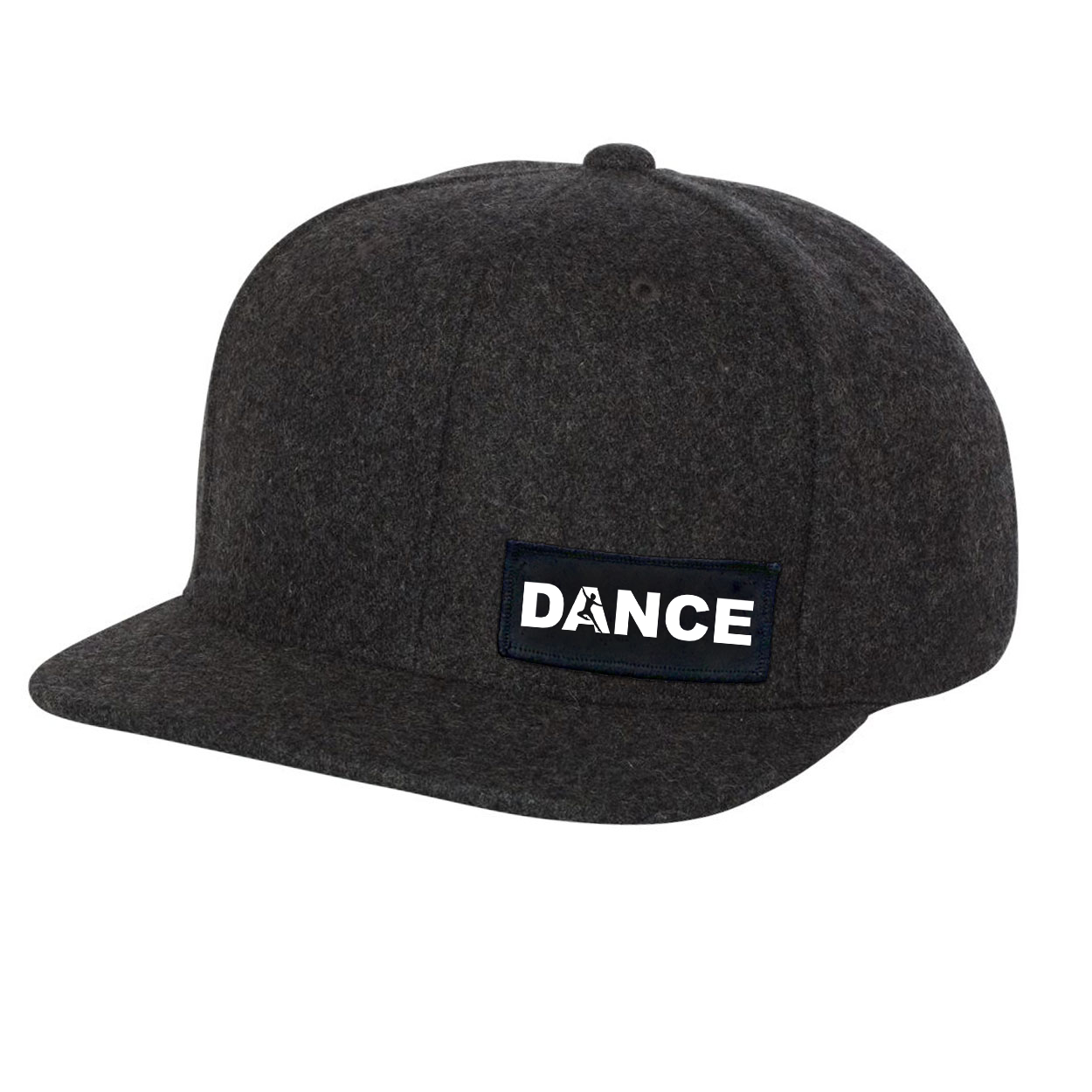 Dance Silhouette Logo Night Out Woven Patch Flat Brim Snapback Hat Dark Heather Gray Wool (White Logo)