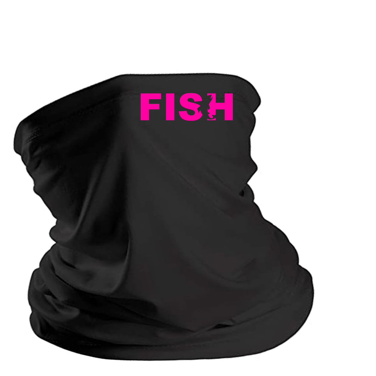 Fish Catch Logo Night Out Lightweight Neck Gaiter Face Mask Black (Pink Logo)