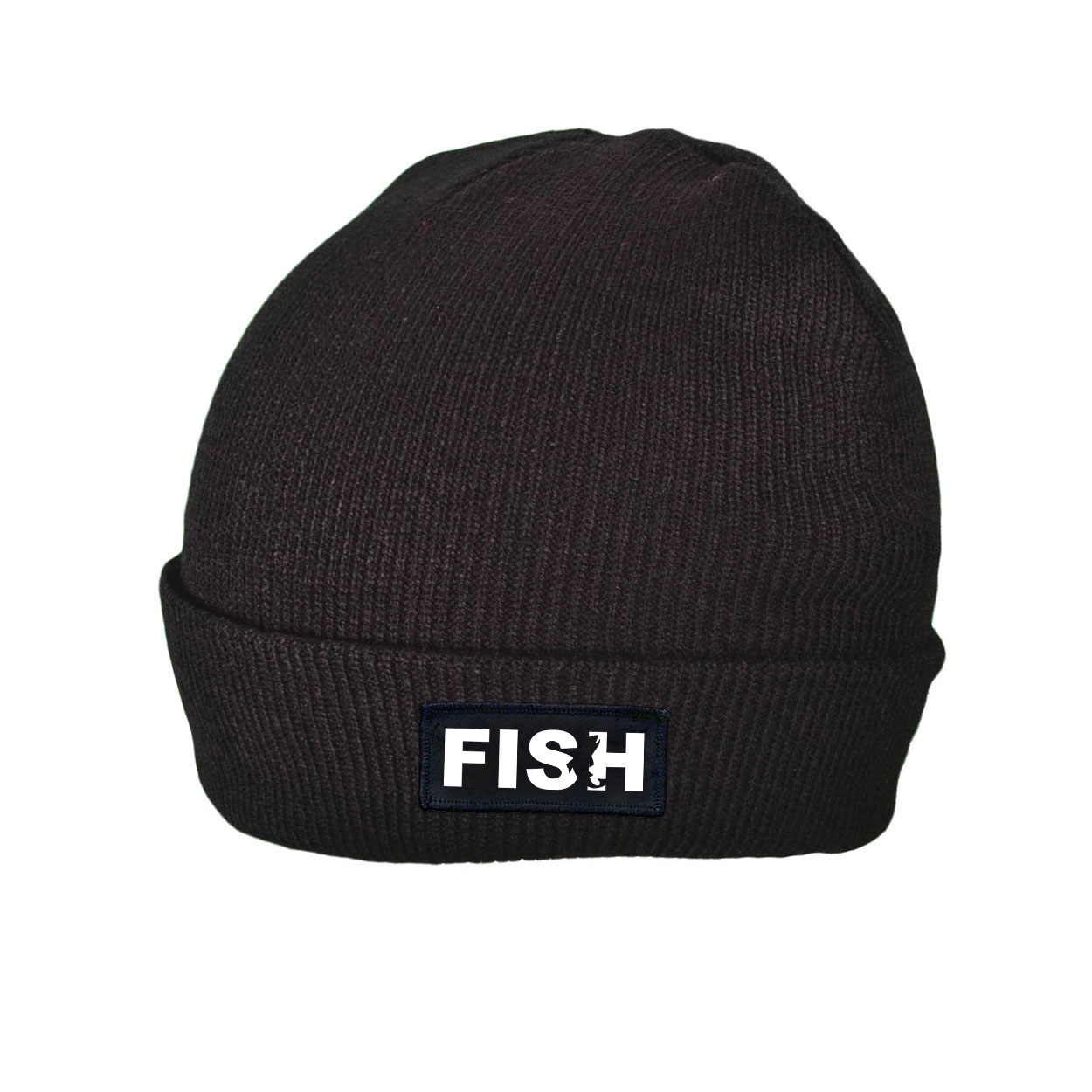 Fish Catch Logo Night Out Woven Patch Roll Up Skully Beanie Black (White Logo)