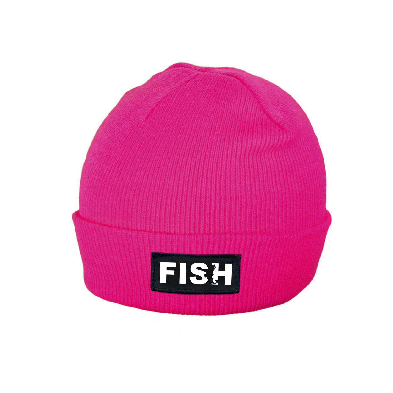 Fish Catch Logo Night Out Woven Patch Roll Up Skully Beanie Heather Fuchsia (White Logo)