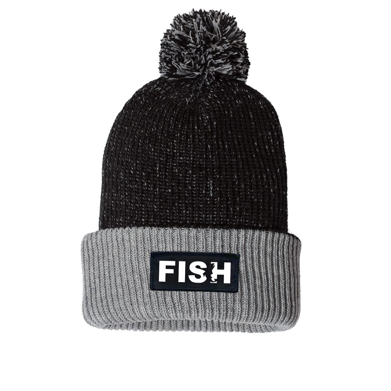 Fish Catch Logo Night Out Woven Patch Roll Up Pom Knit Beanie Black/Gray (White Logo)