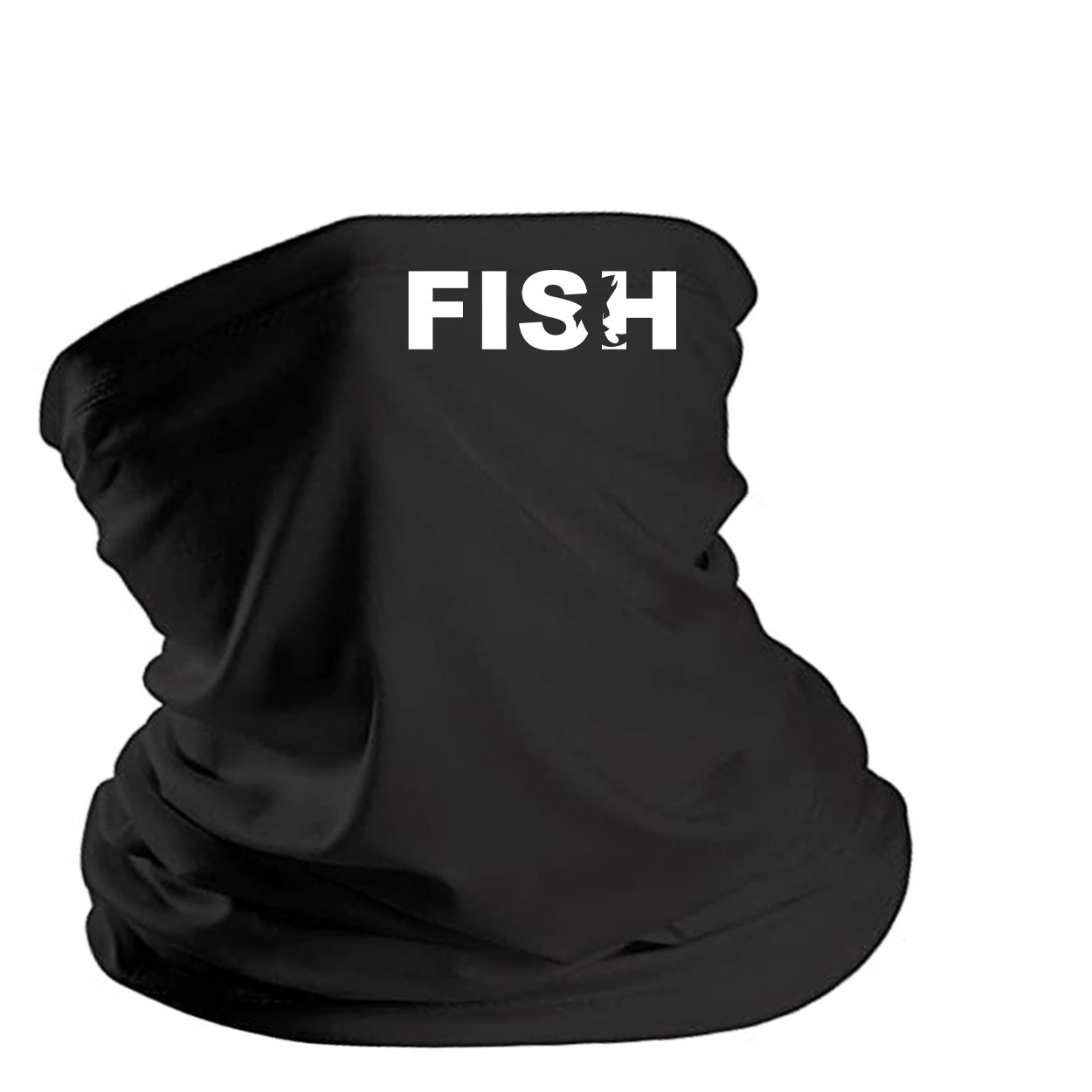 Fish Catch Logo Night Out Lightweight Neck Gaiter Face Mask Black (White Logo)