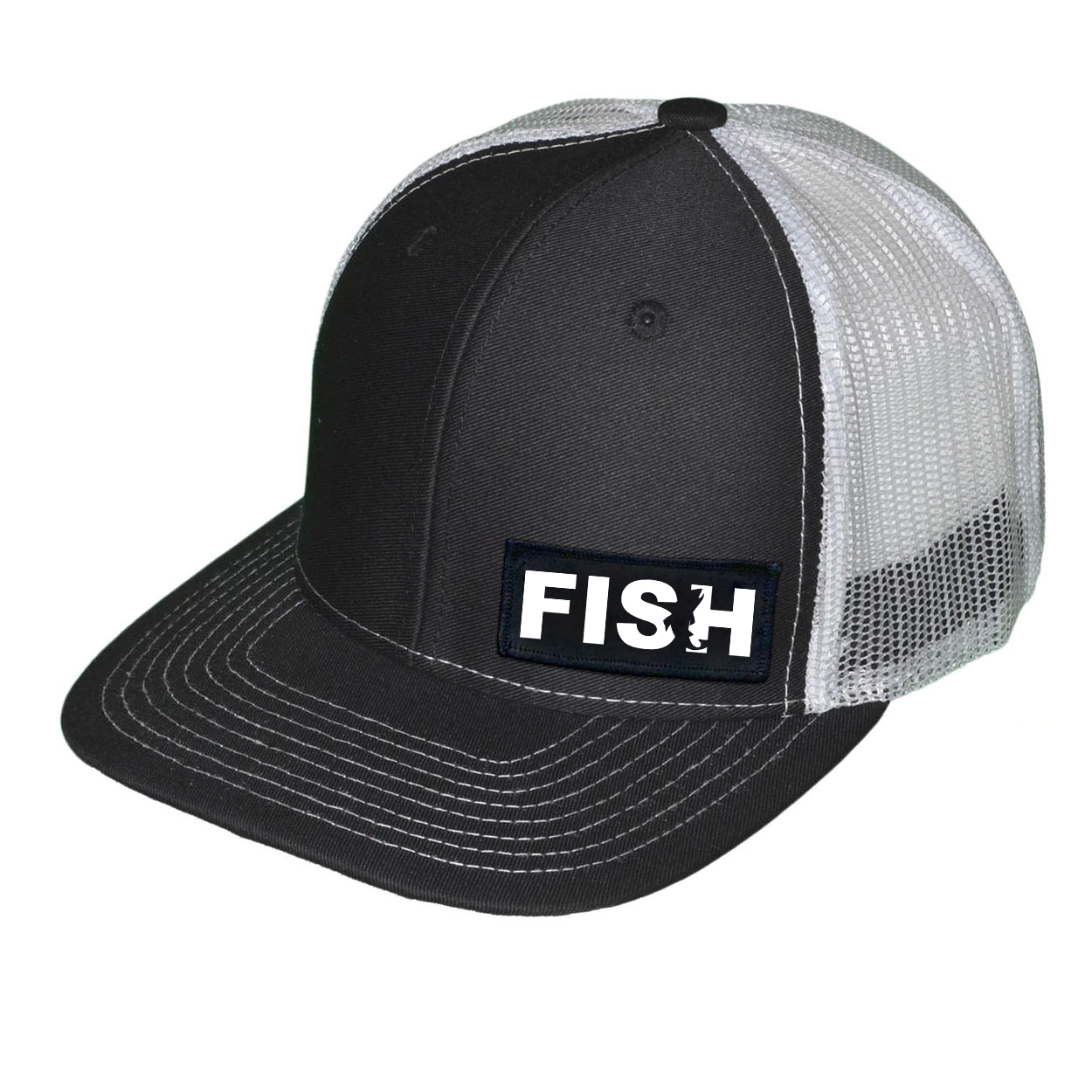 Fish Catch Logo Night Out Woven Patch Snapback Trucker Hat Black/White (White Logo)